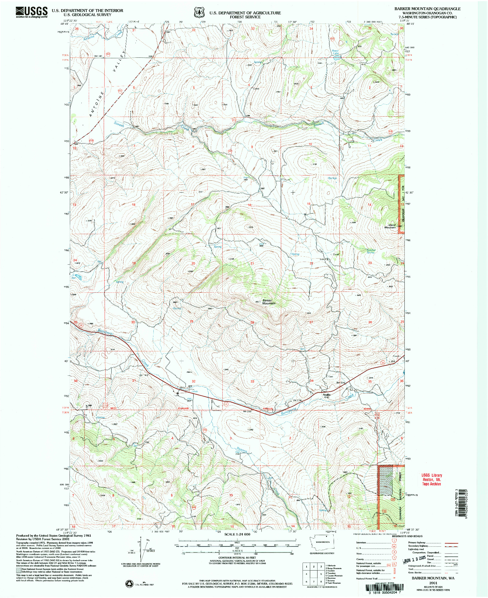 USGS 1:24000-SCALE QUADRANGLE FOR BARKER MOUNTAIN, WA 2001