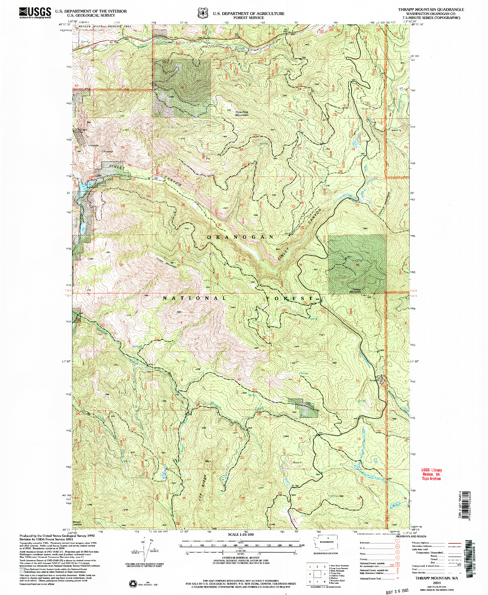 USGS 1:24000-SCALE QUADRANGLE FOR THRAPP MTN, WA 2001
