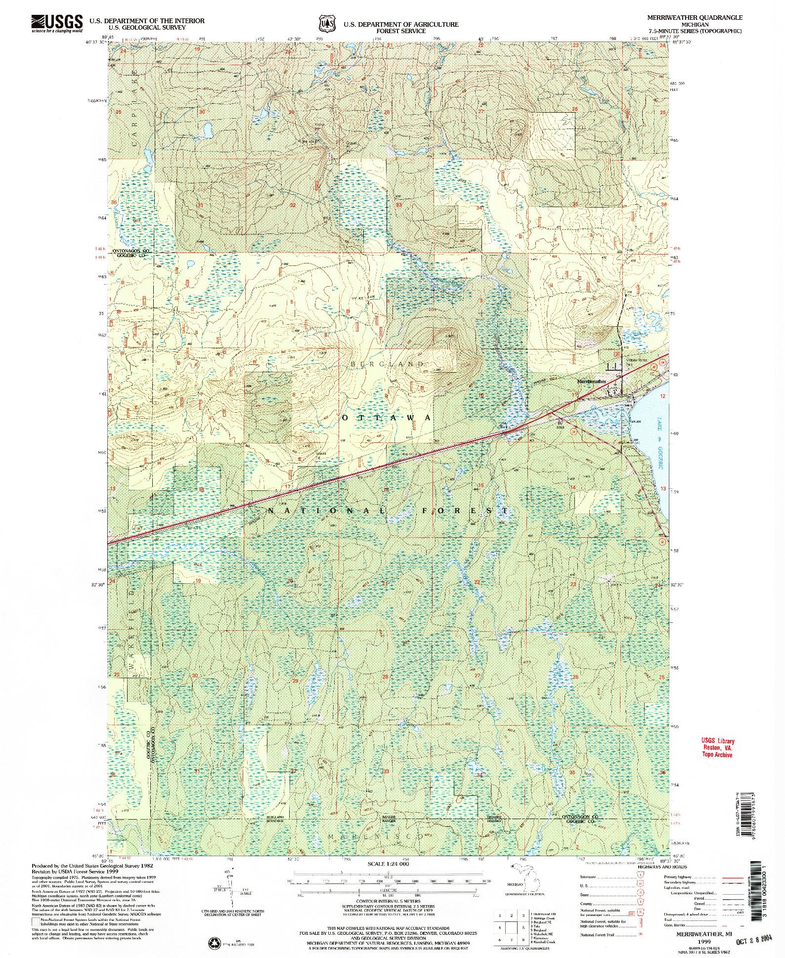 USGS 1:24000-SCALE QUADRANGLE FOR MERRIWEATHER, MI 1999