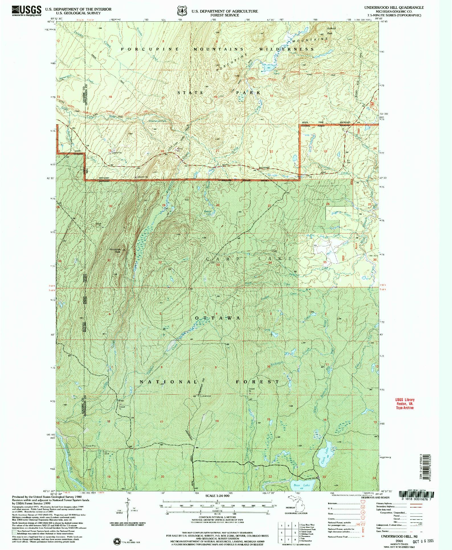 USGS 1:24000-SCALE QUADRANGLE FOR UNDERWOOD HILL, MI 2001