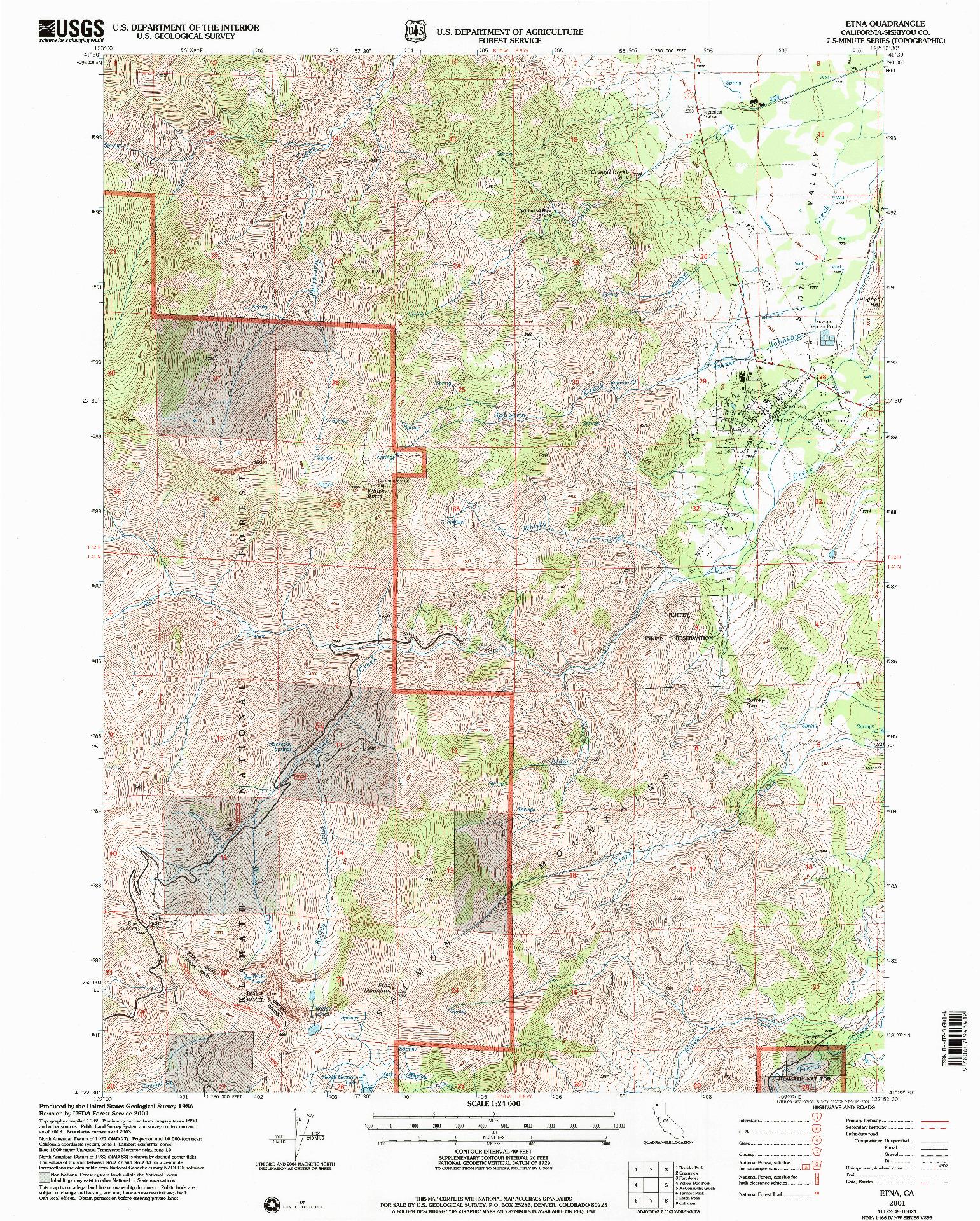 USGS 1:24000-SCALE QUADRANGLE FOR ETNA, CA 2001