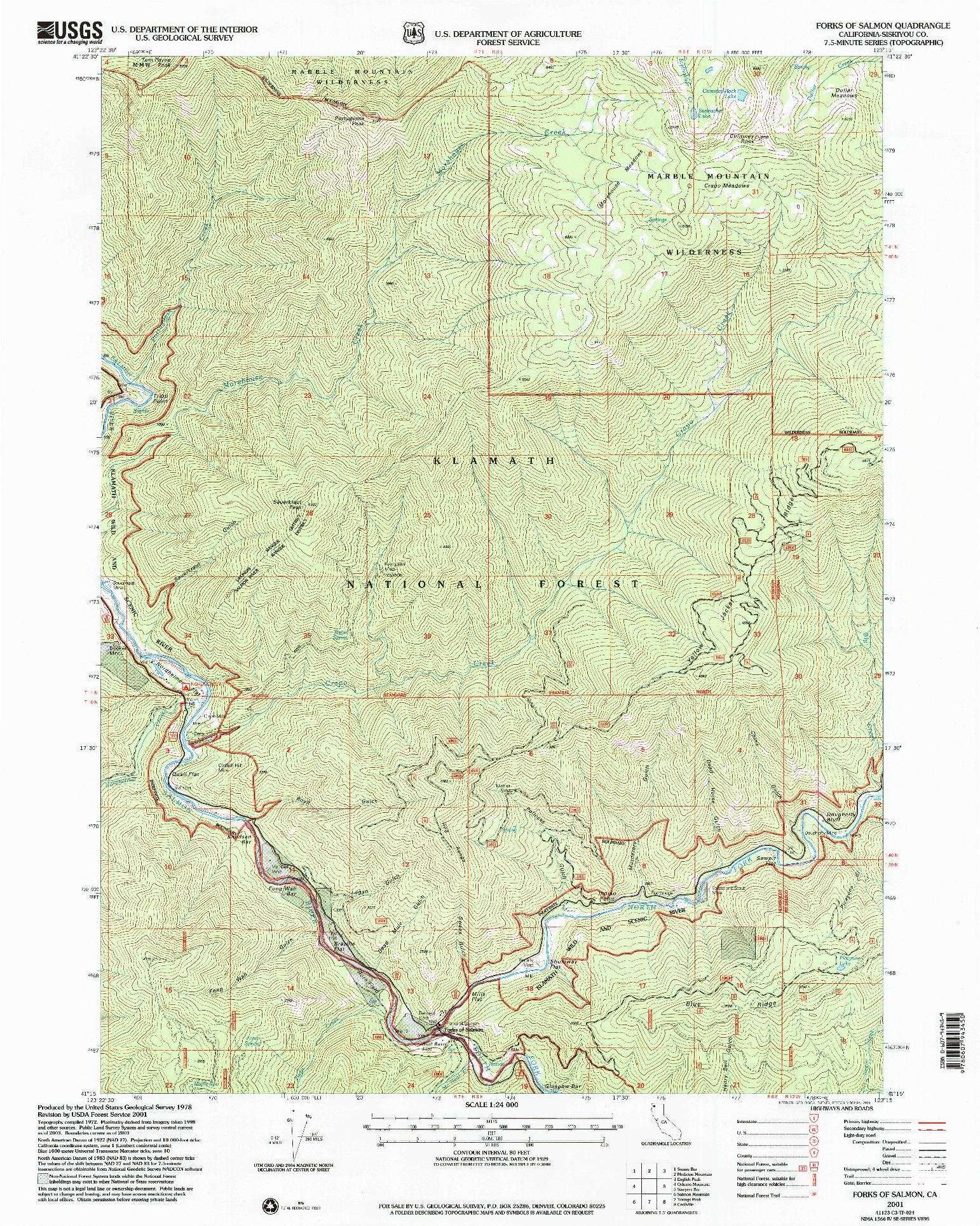 USGS 1:24000-SCALE QUADRANGLE FOR FORKS OF SALMON, CA 2001
