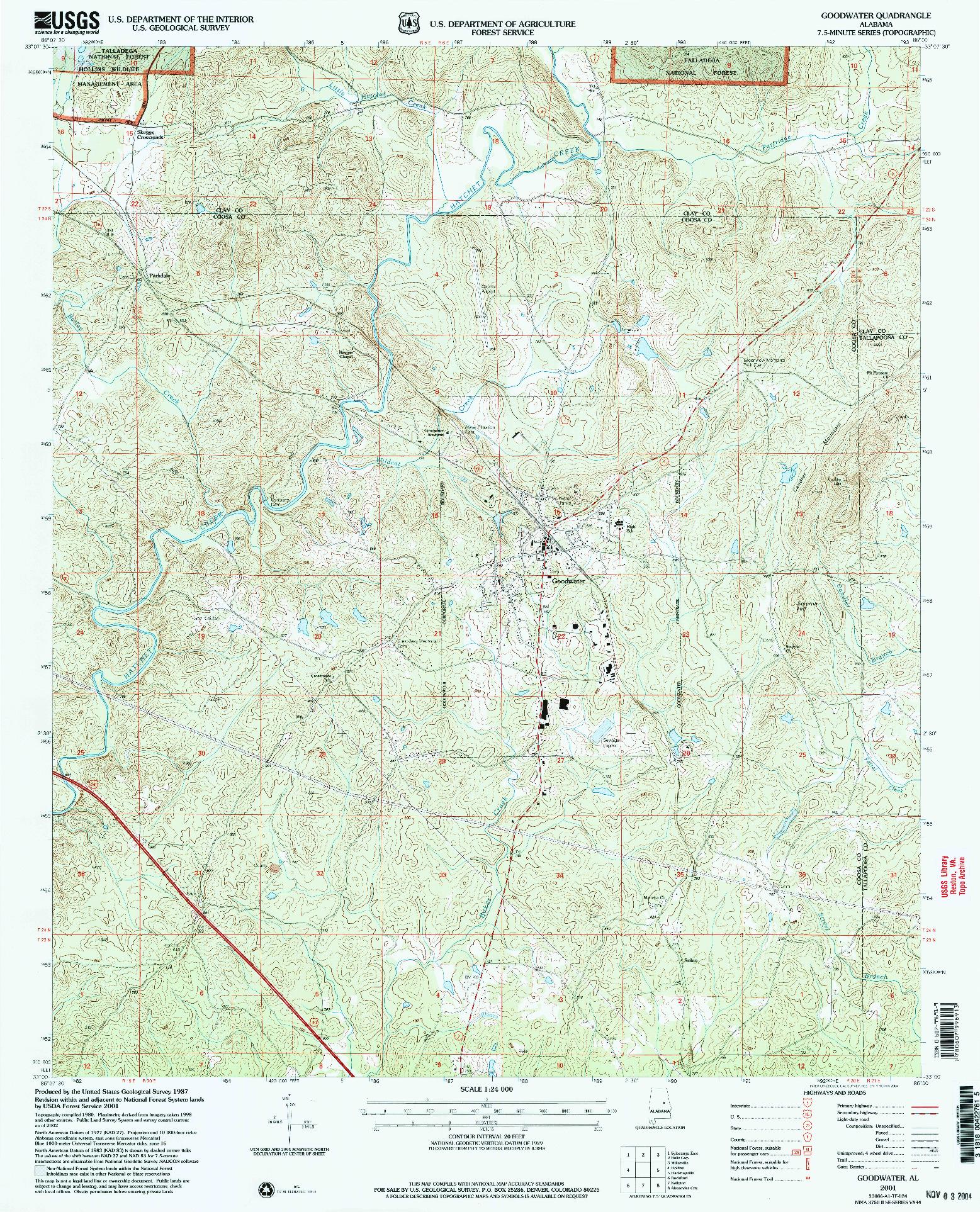 USGS 1:24000-SCALE QUADRANGLE FOR GOODWATER, AL 2001