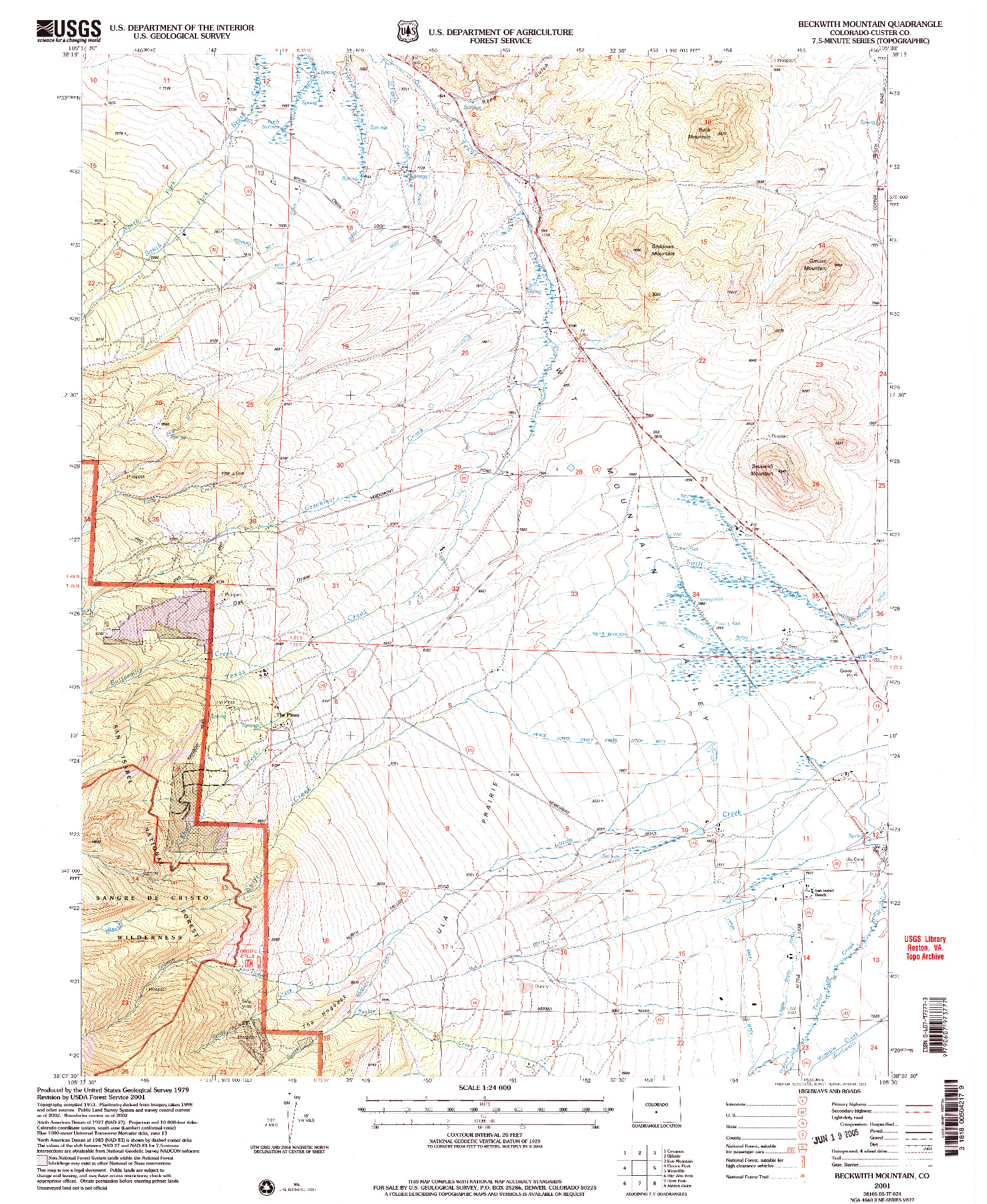 USGS 1:24000-SCALE QUADRANGLE FOR BECKWITH MOUNTAIN, CO 2001