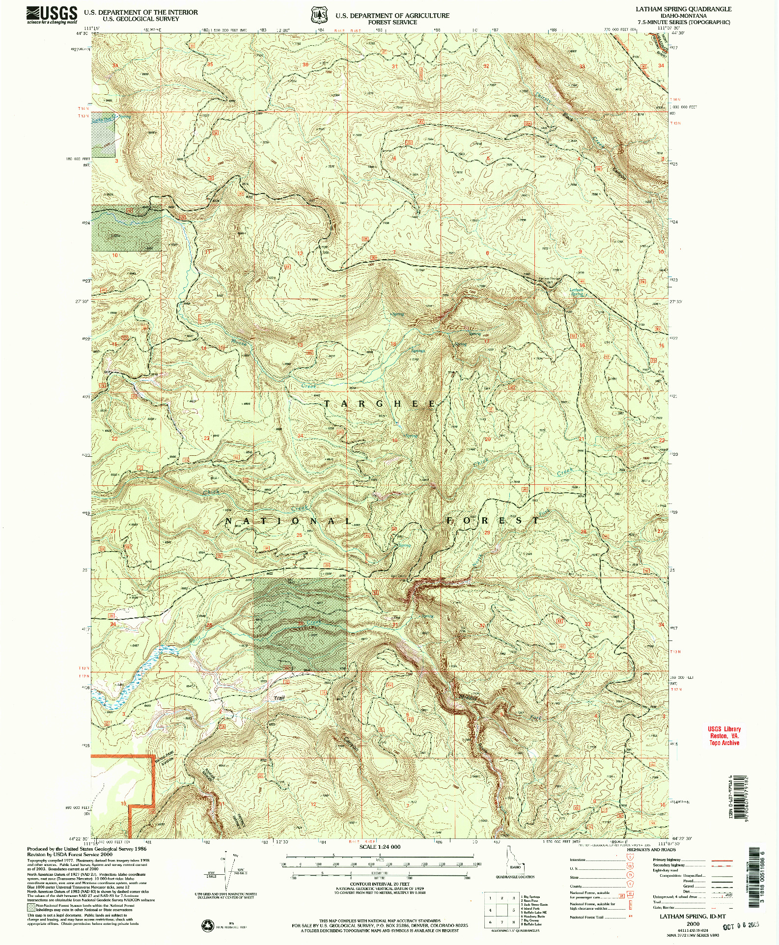 USGS 1:24000-SCALE QUADRANGLE FOR LATHAM SPRING, ID 2000