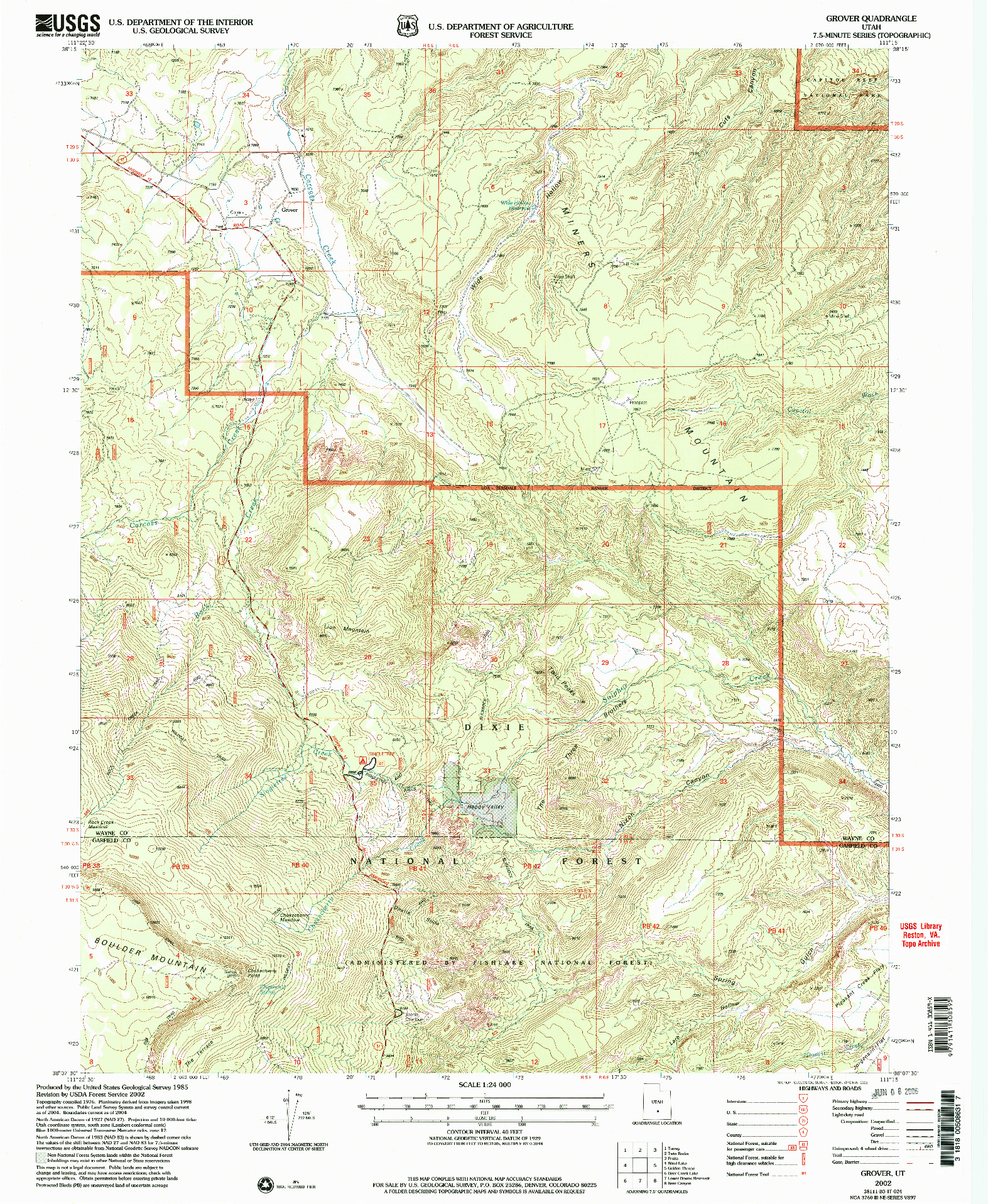 USGS 1:24000-SCALE QUADRANGLE FOR GROVER, UT 2002