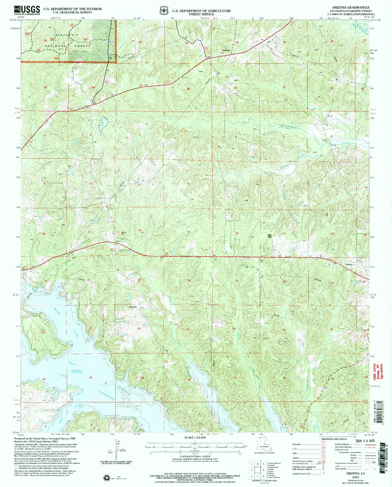 USGS 1:24000-SCALE QUADRANGLE FOR ARIZONA, LA 2003