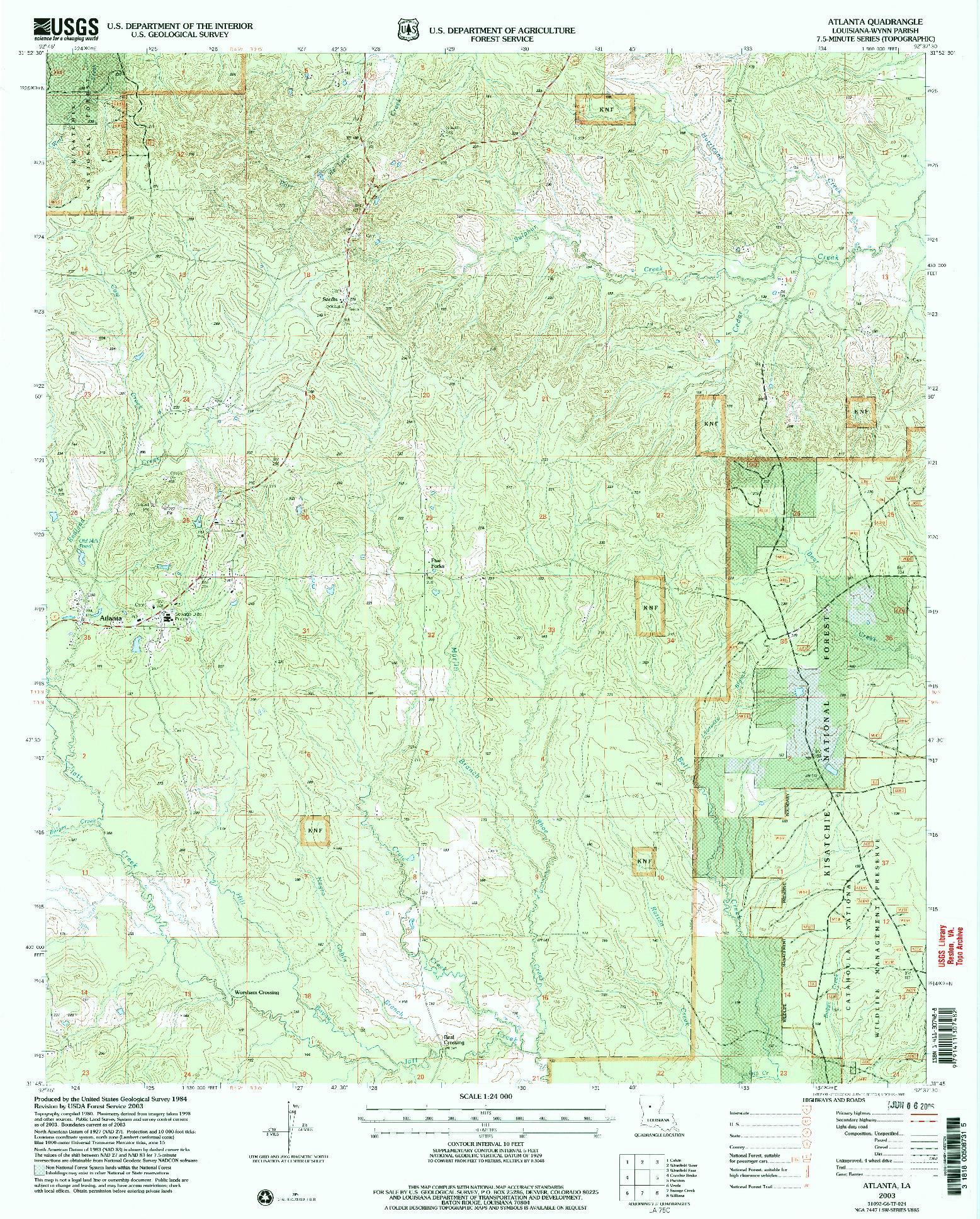 USGS 1:24000-SCALE QUADRANGLE FOR ATLANTA, LA 2003