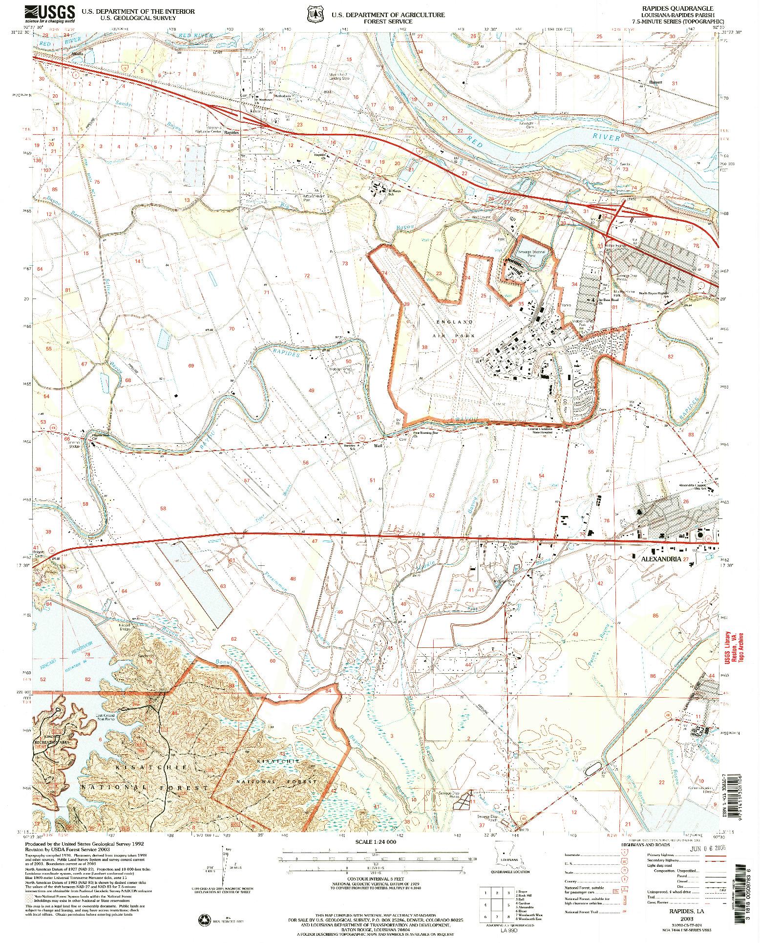 USGS 1:24000-SCALE QUADRANGLE FOR RAPIDES, LA 2003