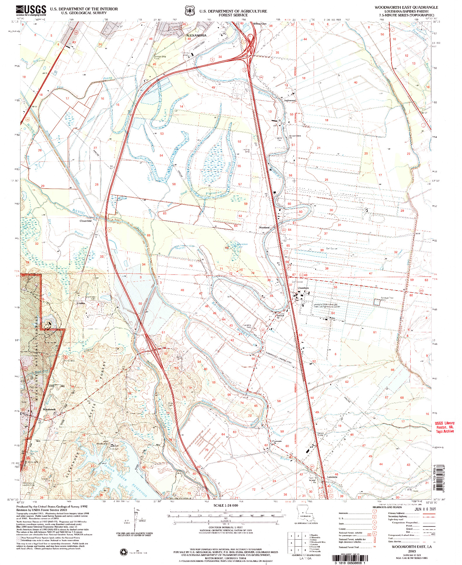 USGS 1:24000-SCALE QUADRANGLE FOR WOODWORTH EAST, LA 2003