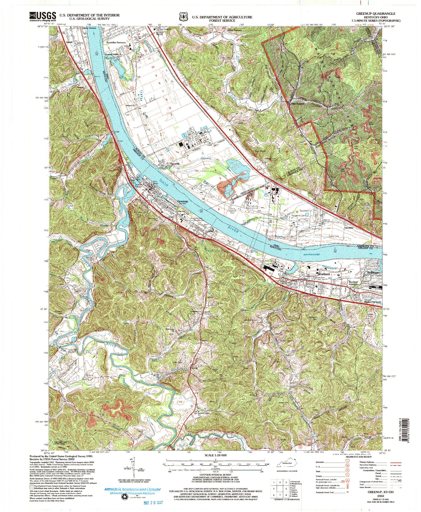 USGS 1:24000-SCALE QUADRANGLE FOR GREENUP, KY 2002