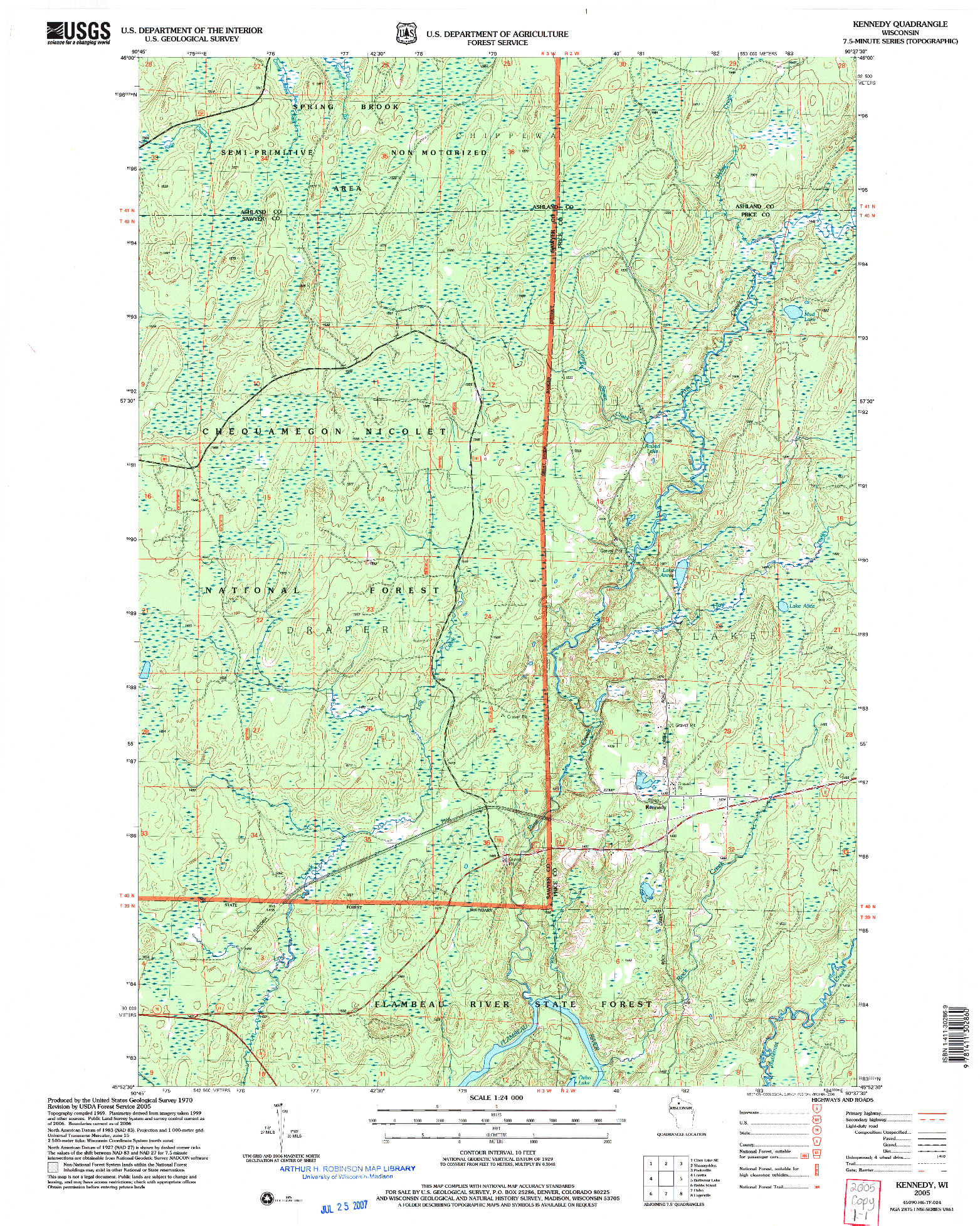 USGS 1:24000-SCALE QUADRANGLE FOR KENNEDY, WI 2005