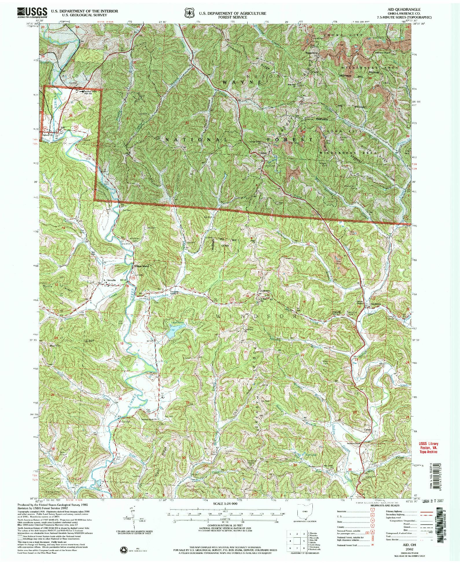 USGS 1:24000-SCALE QUADRANGLE FOR AID, OH 2002