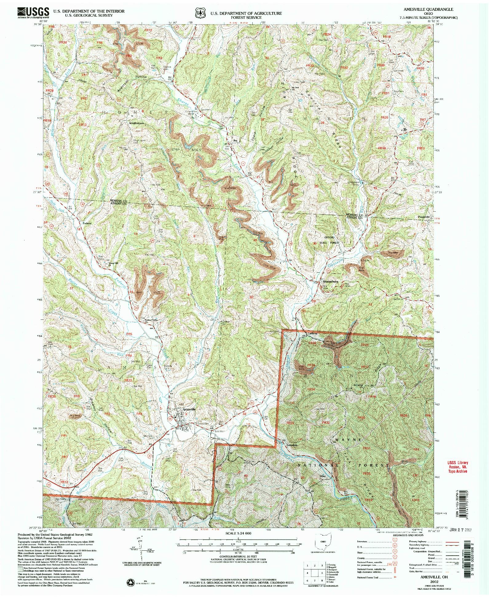 USGS 1:24000-SCALE QUADRANGLE FOR AMESVILLE, OH 2002