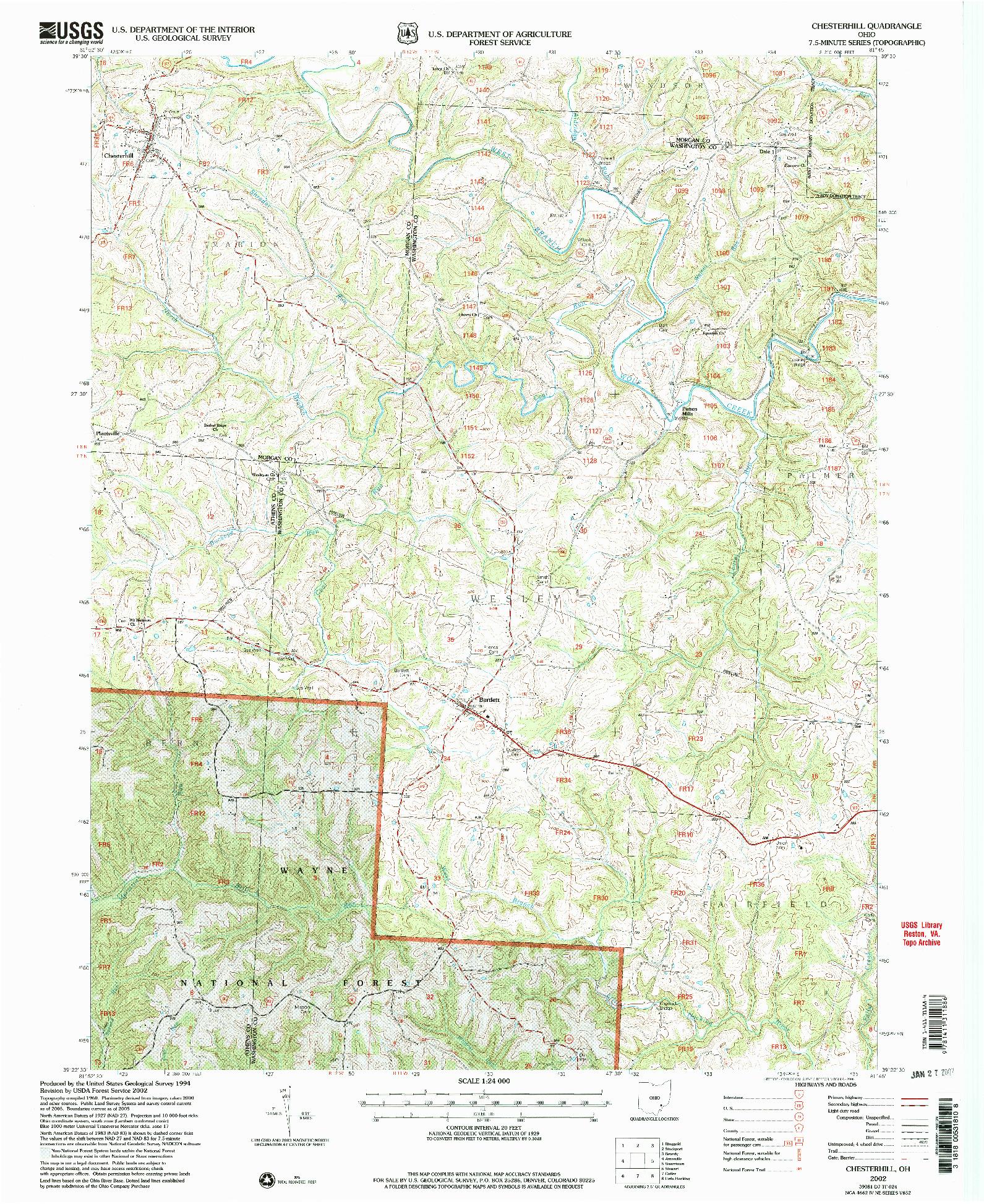 USGS 1:24000-SCALE QUADRANGLE FOR CHESTERHILL, OH 2002