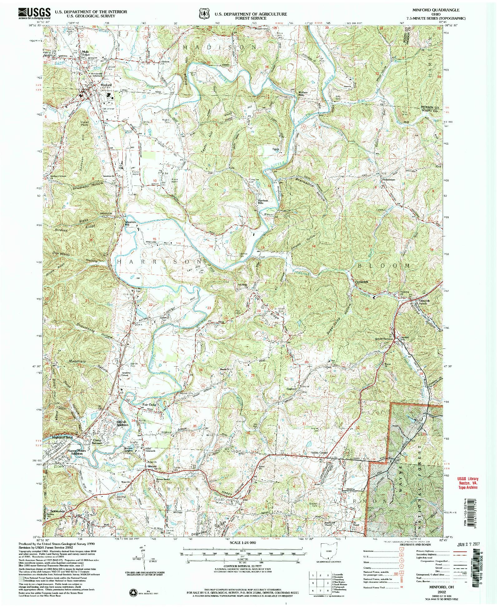 USGS 1:24000-SCALE QUADRANGLE FOR MINFORD, OH 2002