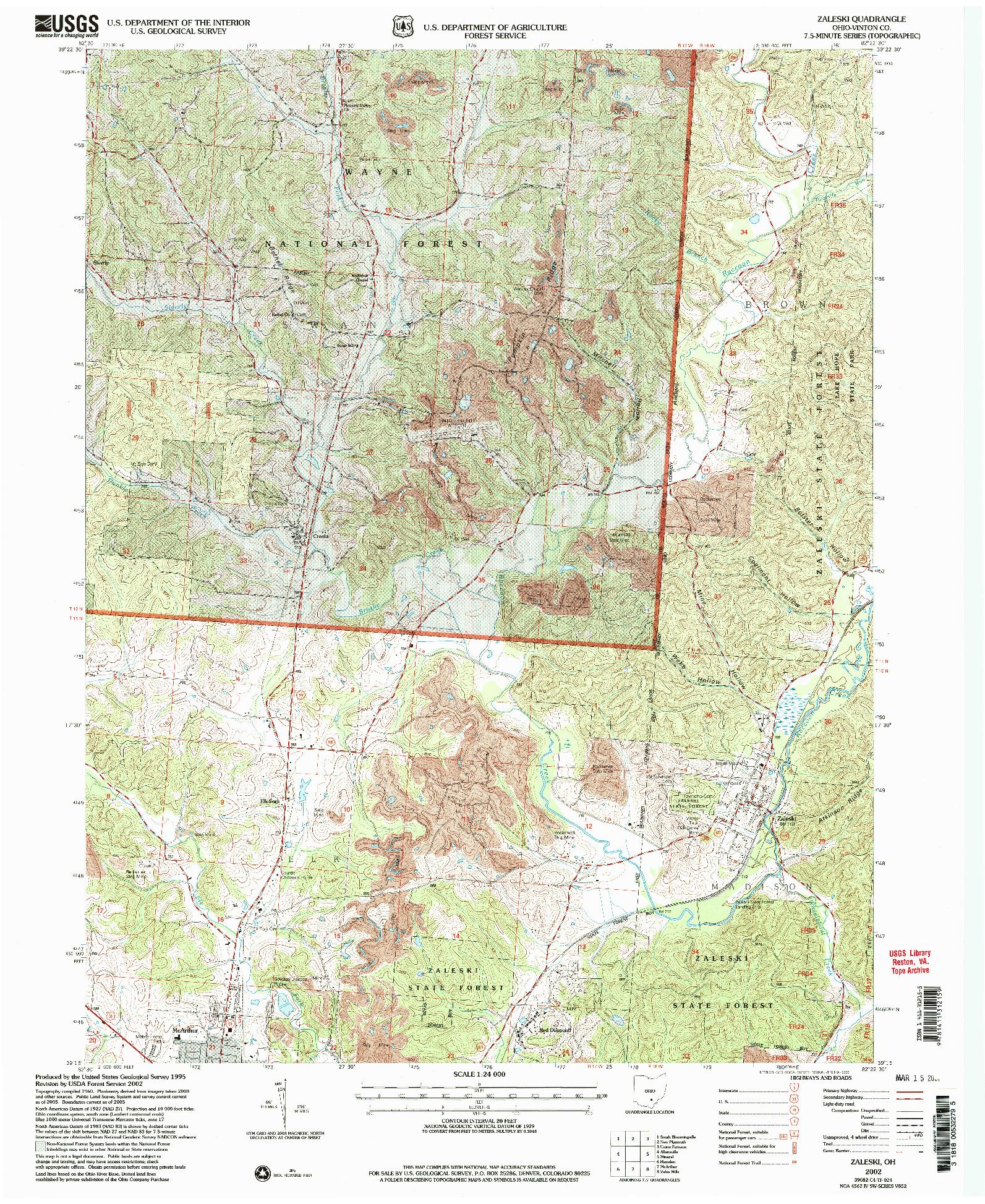 USGS 1:24000-SCALE QUADRANGLE FOR ZALESKI, OH 2002