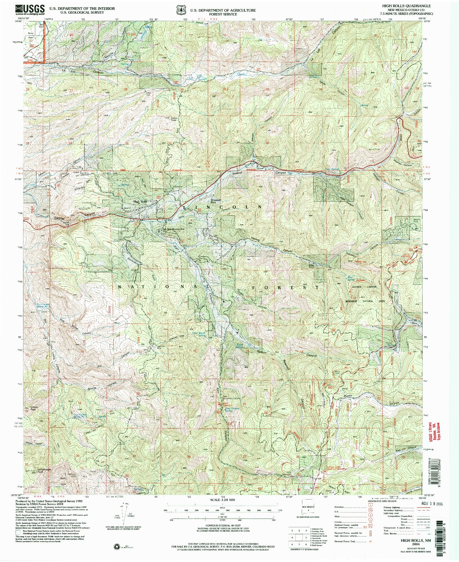 USGS 1:24000-SCALE QUADRANGLE FOR HIGH ROLLS, NM 2004