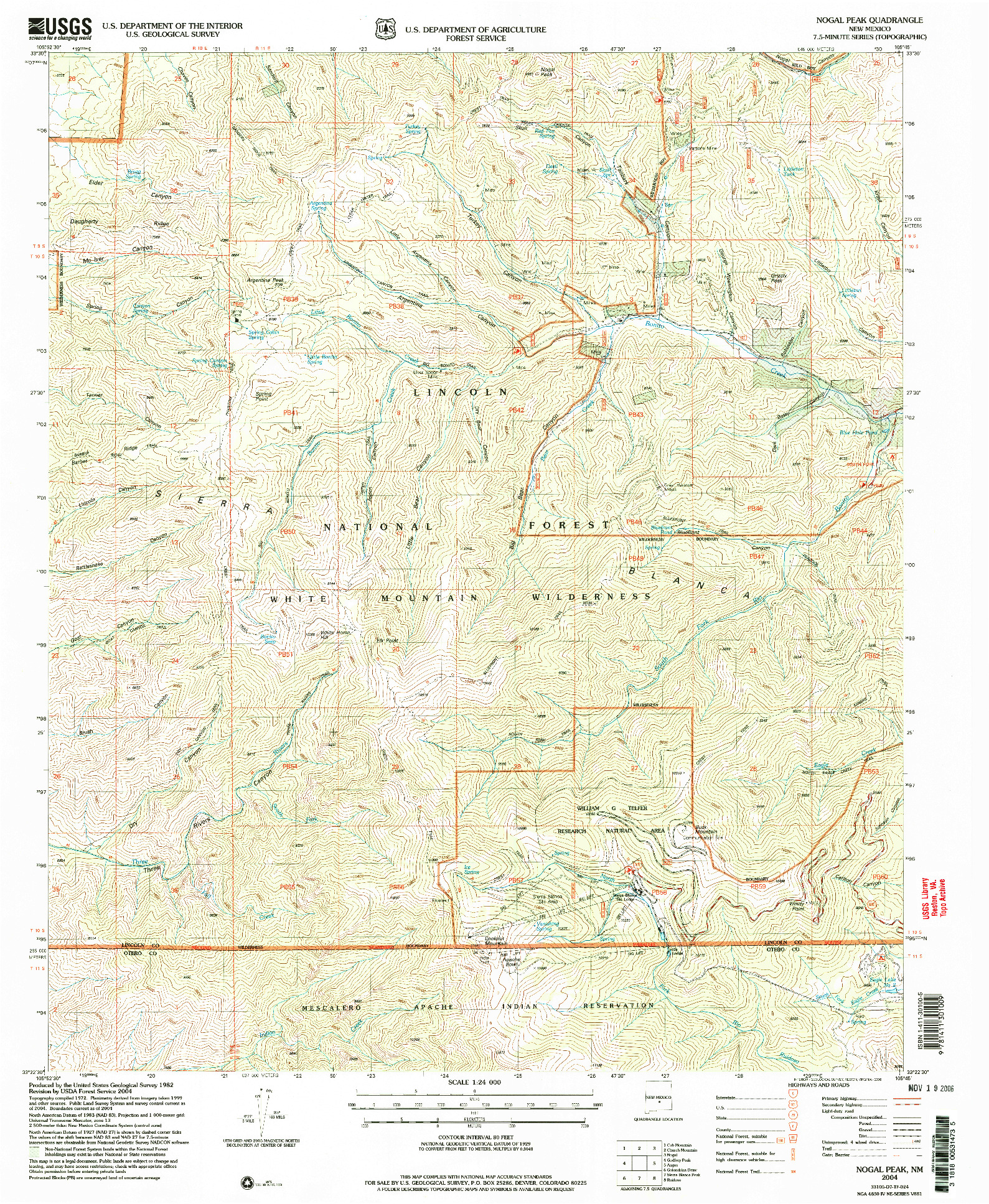 USGS 1:24000-SCALE QUADRANGLE FOR NOGAL PEAK, NM 2004