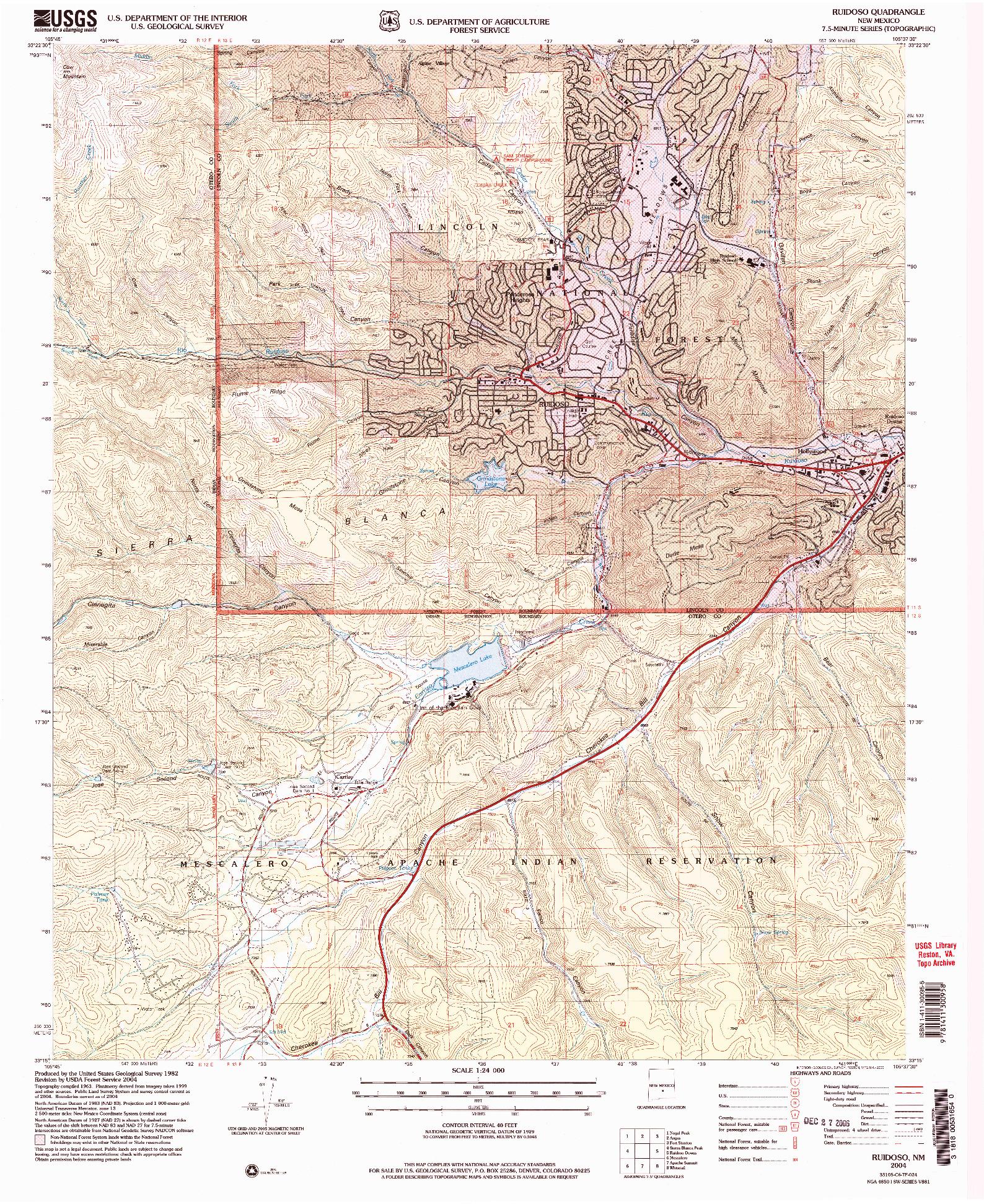 USGS 1:24000-SCALE QUADRANGLE FOR RUIDOSO, NM 2004
