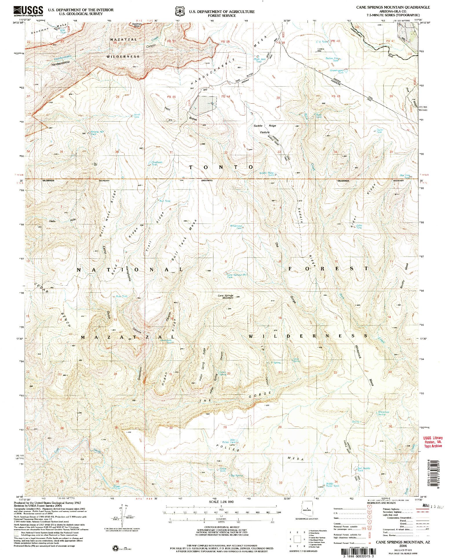 USGS 1:24000-SCALE QUADRANGLE FOR CANE SPRINGS MOUNTAIN, AZ 2004