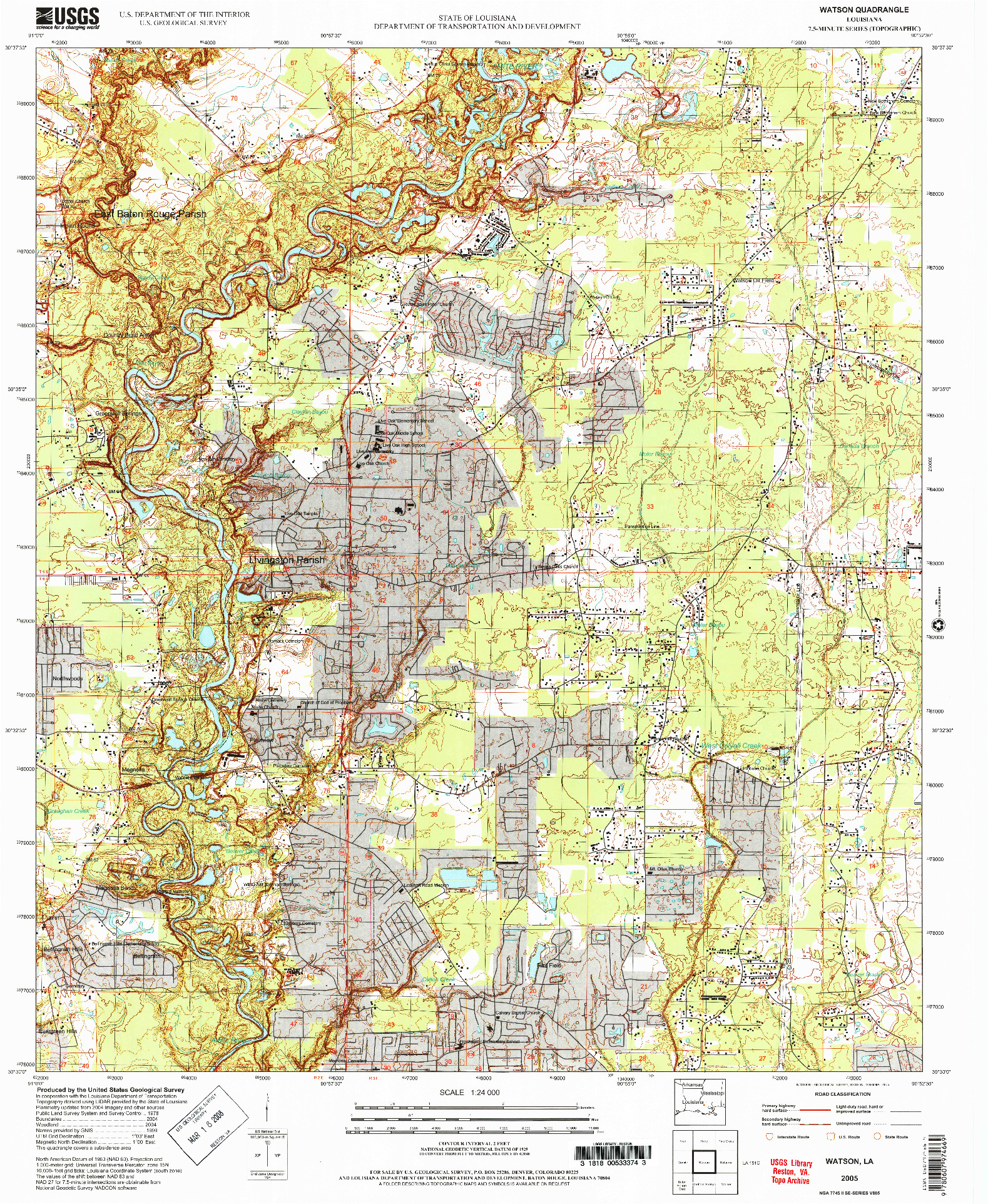 USGS 1:24000-SCALE QUADRANGLE FOR WATSON, LA 2005