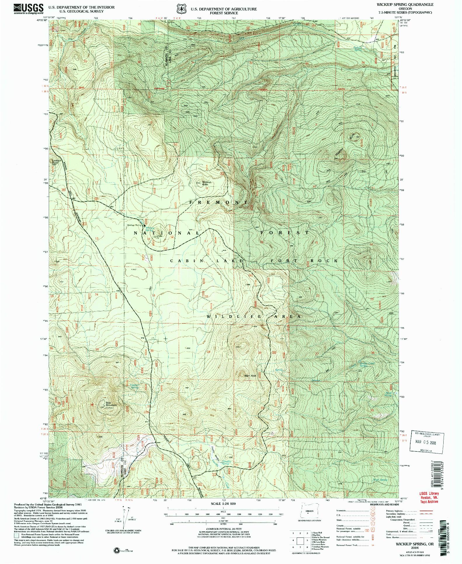 USGS 1:24000-SCALE QUADRANGLE FOR WICKIUP SPRING, OR 2004
