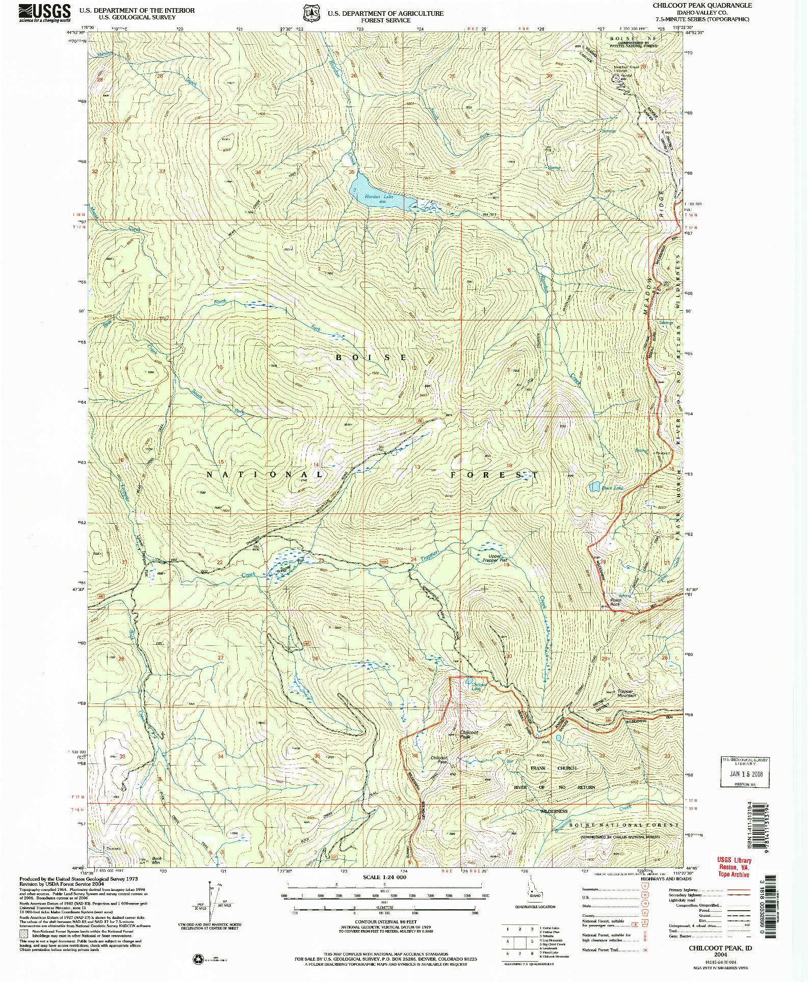 USGS 1:24000-SCALE QUADRANGLE FOR CHILCOOT PEAK, ID 2004