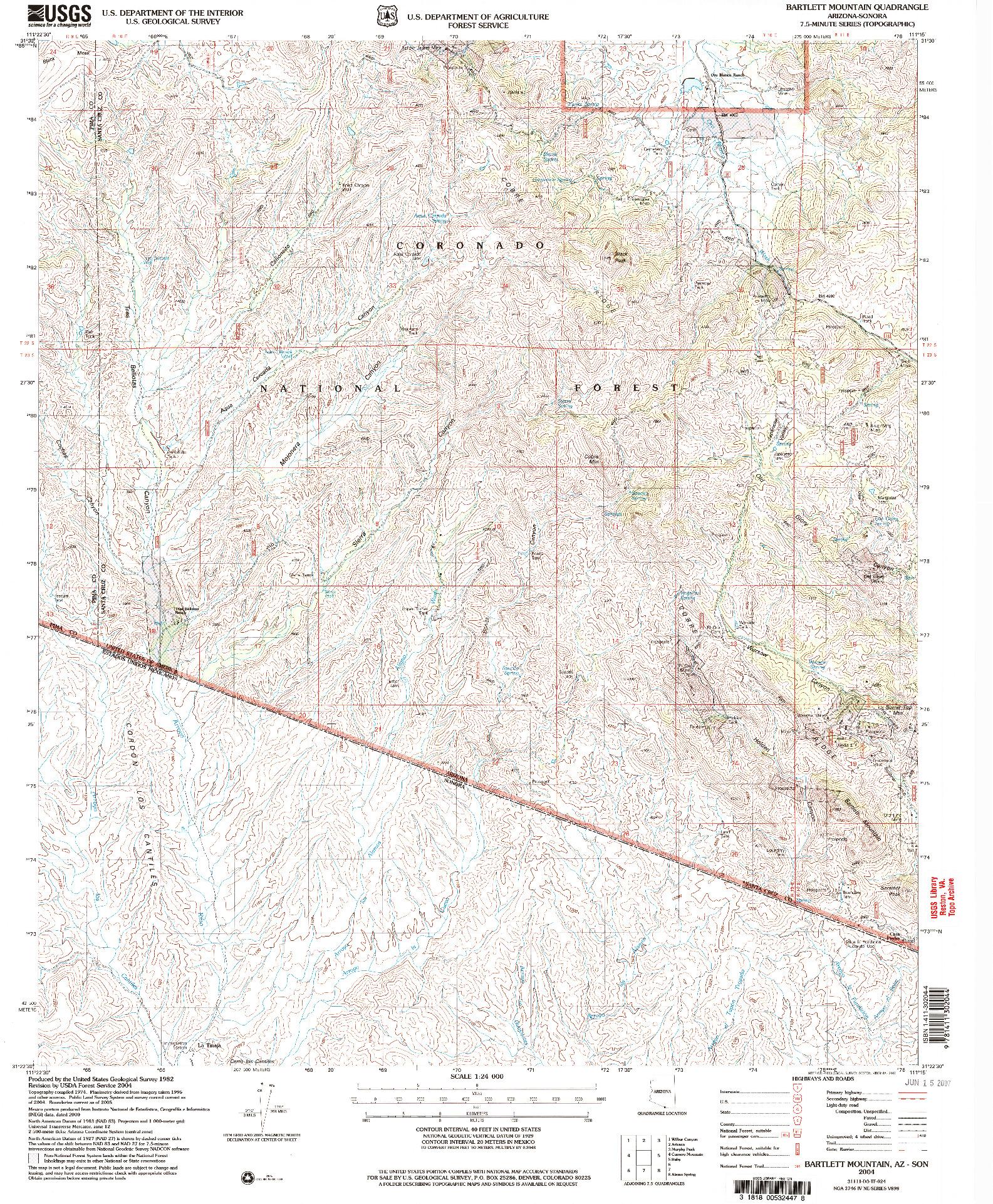 USGS 1:24000-SCALE QUADRANGLE FOR BARTLETT MOUNTAIN, AZ 2004