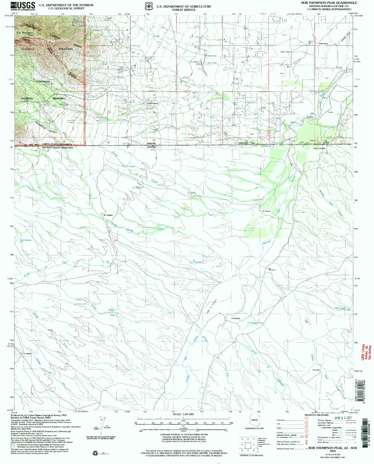 USGS 1:24000-SCALE QUADRANGLE FOR BOB THOMPSON PEAK, AZ 2004