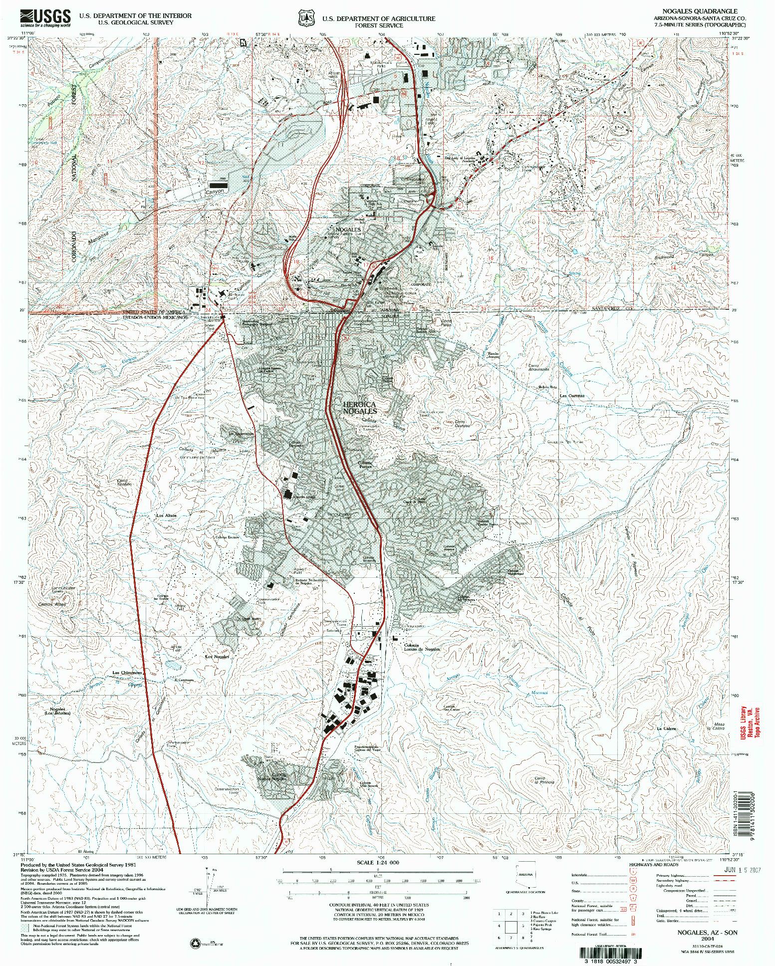USGS 1:24000-SCALE QUADRANGLE FOR NOGALES, AZ 2004