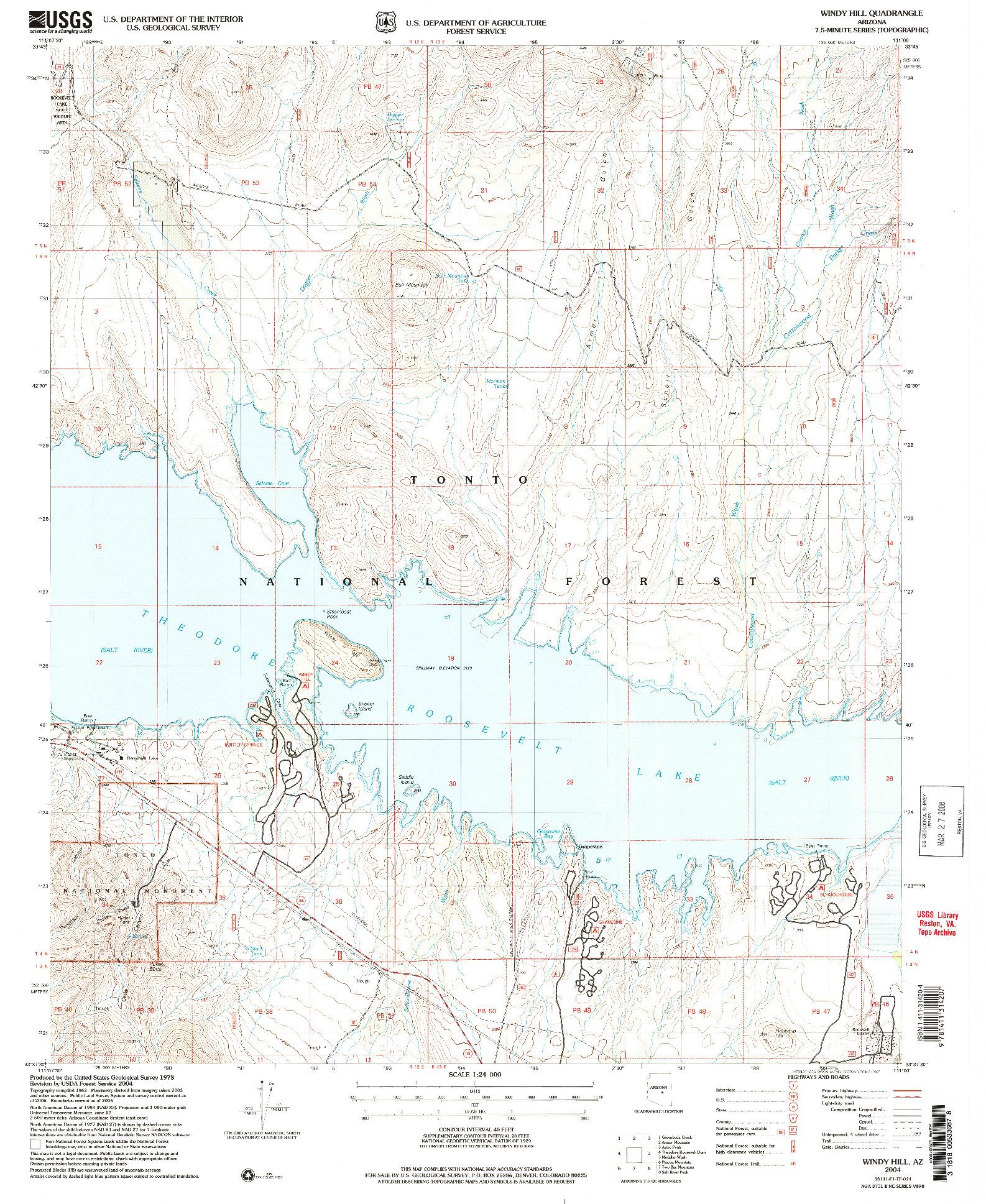 USGS 1:24000-SCALE QUADRANGLE FOR WINDY HILL, AZ 2004