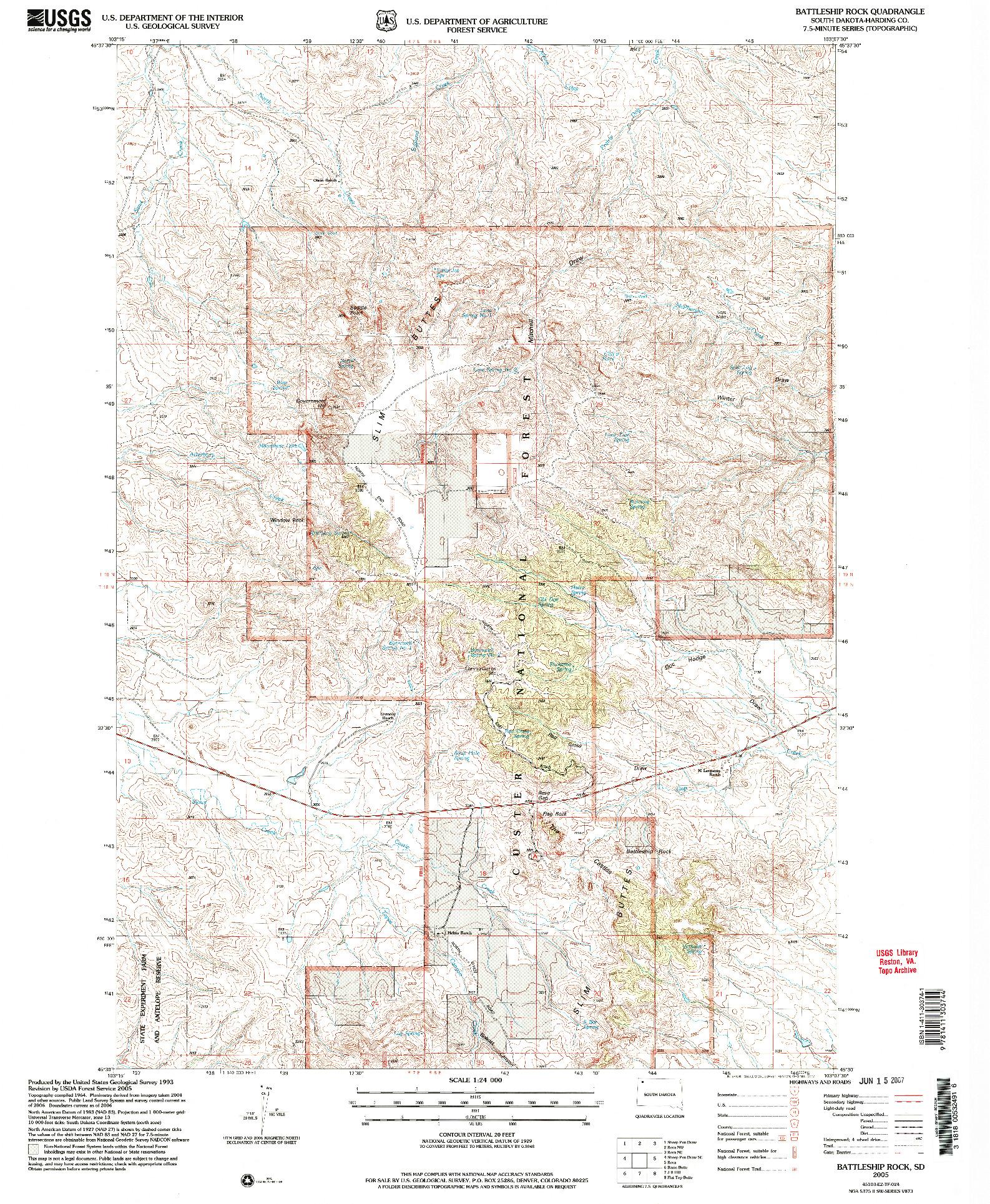 USGS 1:24000-SCALE QUADRANGLE FOR BATTLESHIP ROCK, SD 2005