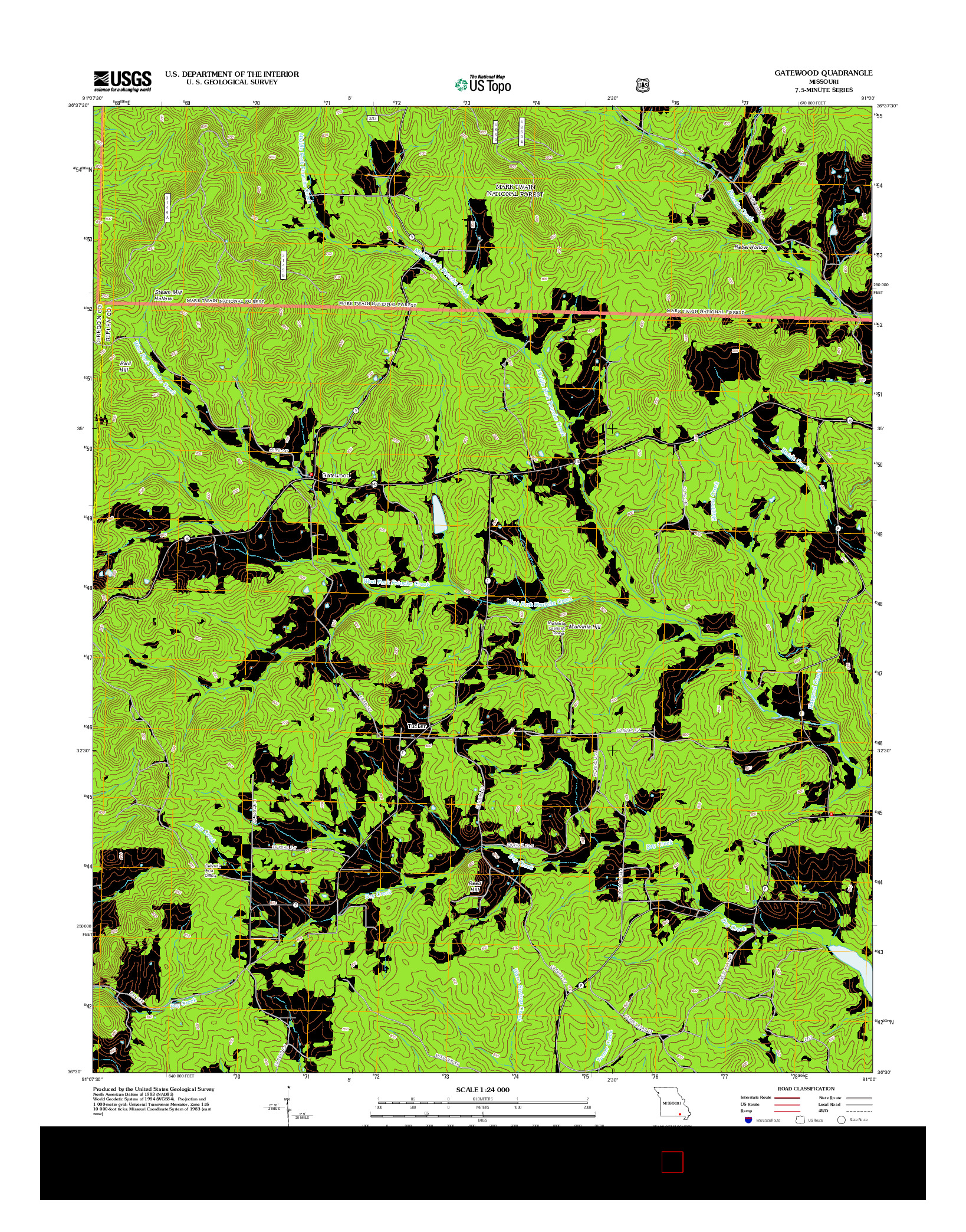 USGS US TOPO 7.5-MINUTE MAP FOR GATEWOOD, MO 2012