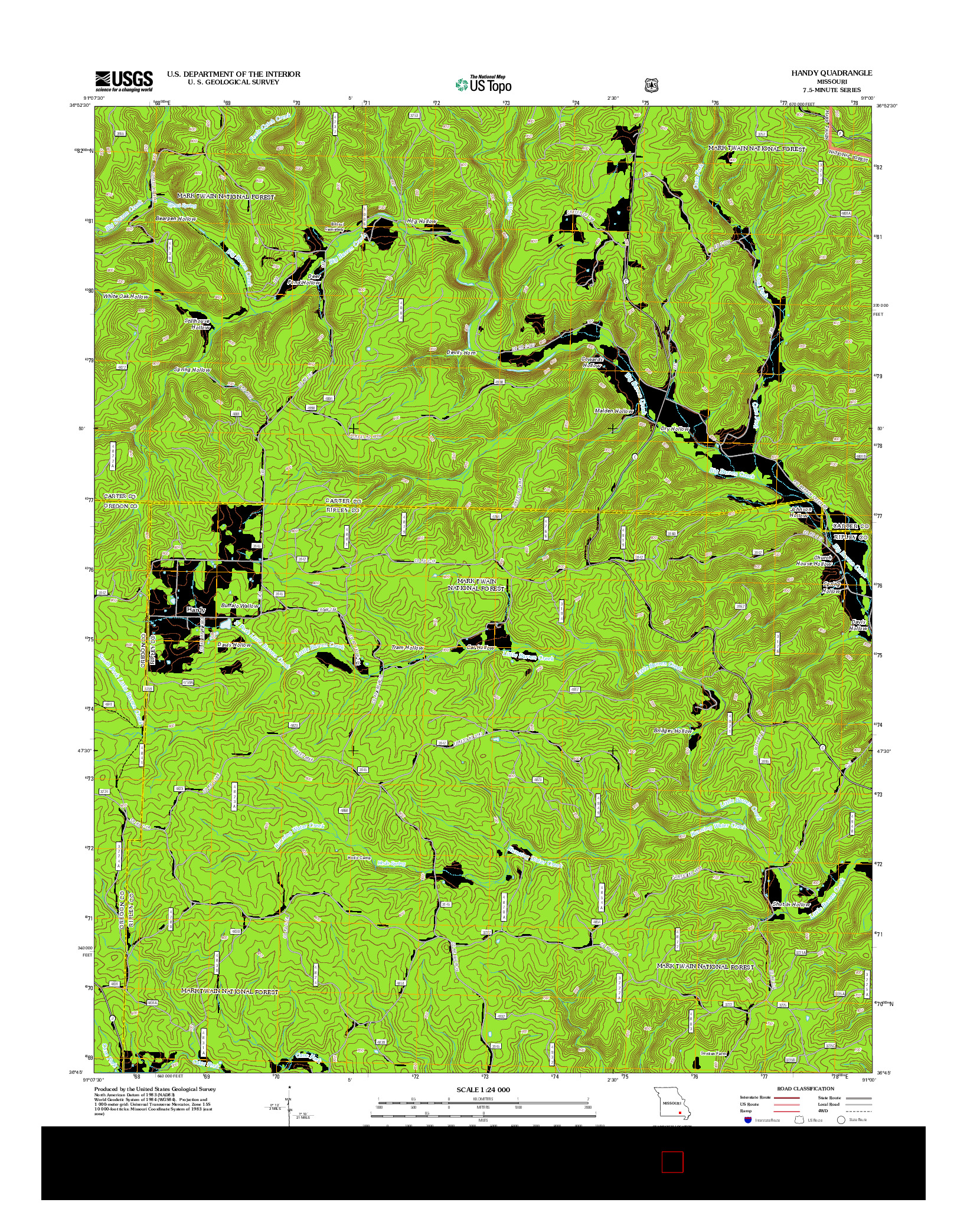 USGS US TOPO 7.5-MINUTE MAP FOR HANDY, MO 2012