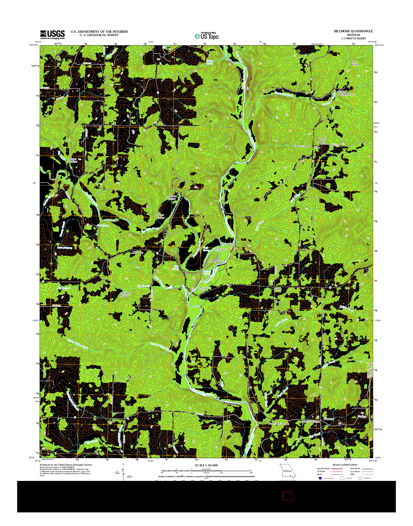 USGS US TOPO 7.5-MINUTE MAP FOR BILLMORE, MO 2012