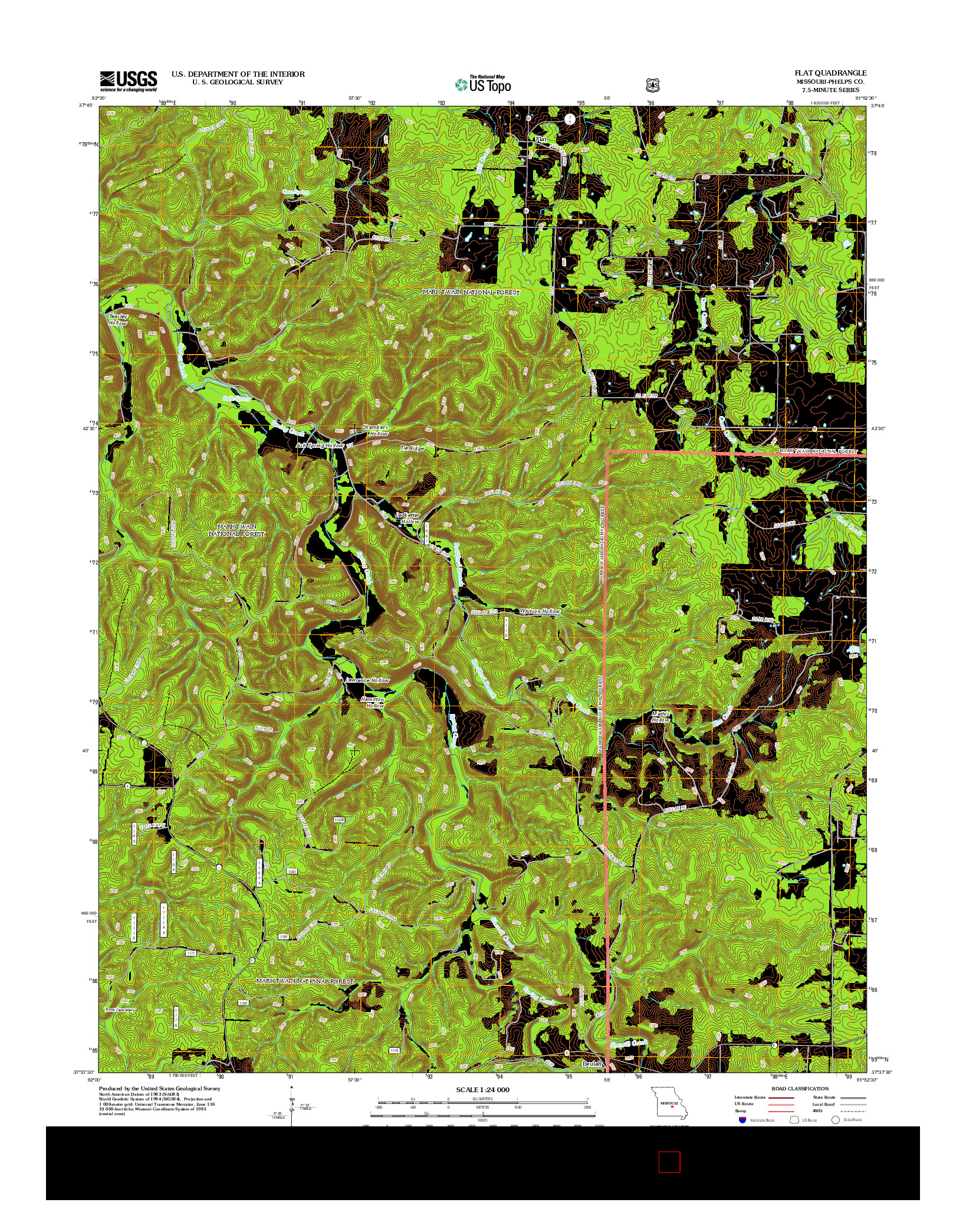 USGS US TOPO 7.5-MINUTE MAP FOR FLAT, MO 2012