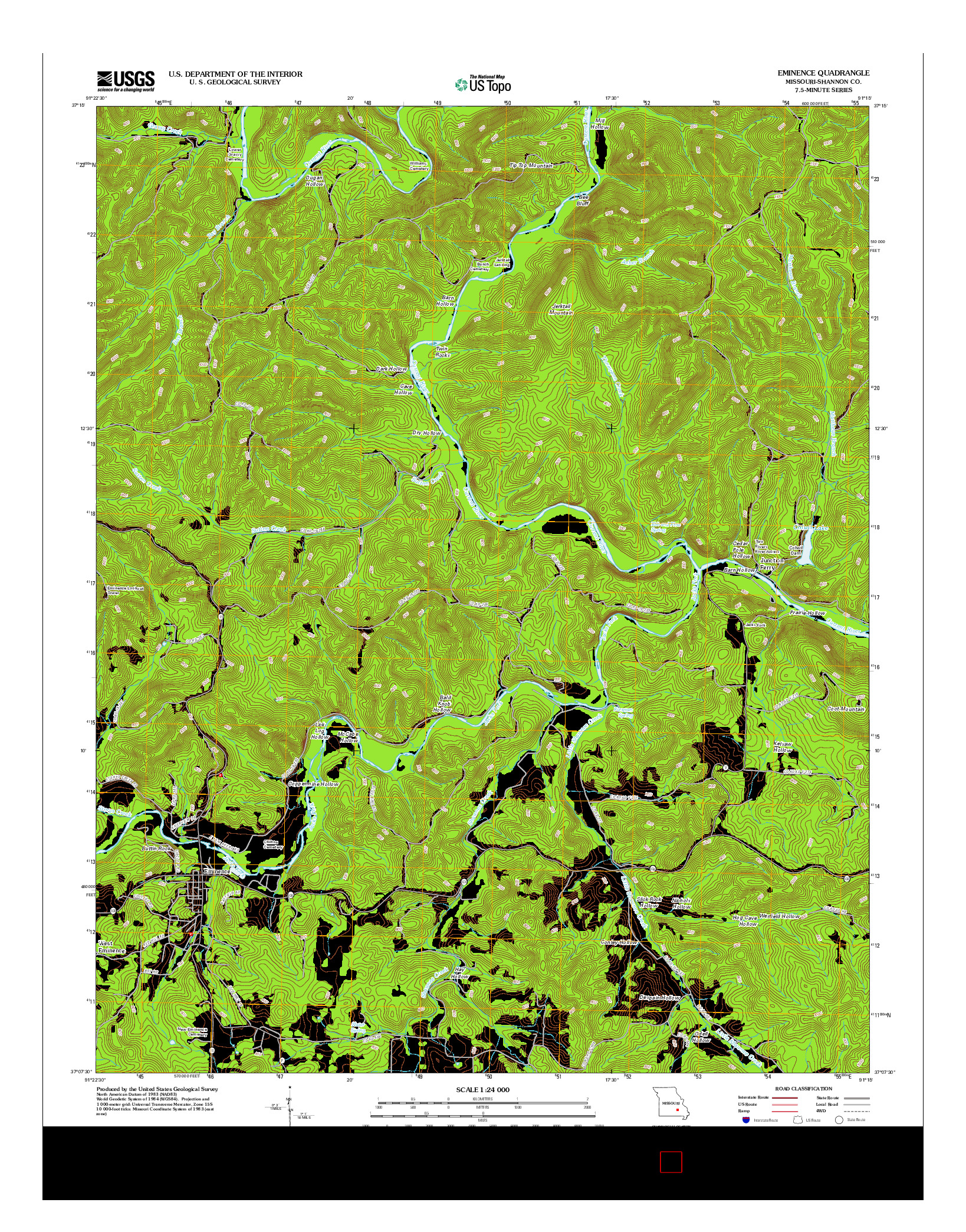 USGS US TOPO 7.5-MINUTE MAP FOR EMINENCE, MO 2012