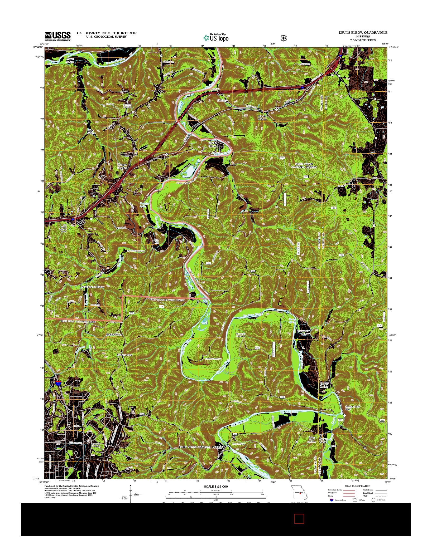 USGS US TOPO 7.5-MINUTE MAP FOR DEVILS ELBOW, MO 2012