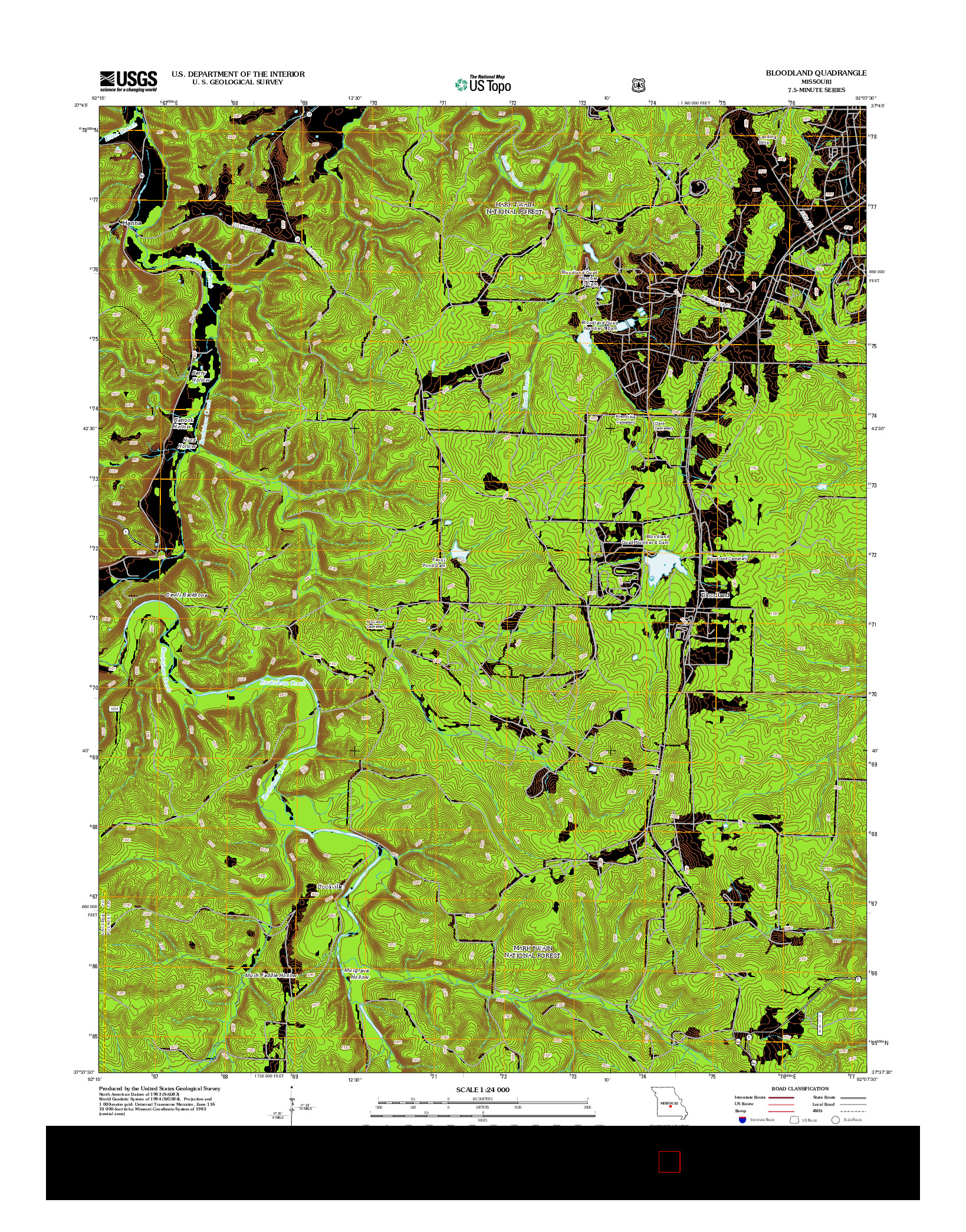 USGS US TOPO 7.5-MINUTE MAP FOR BLOODLAND, MO 2012