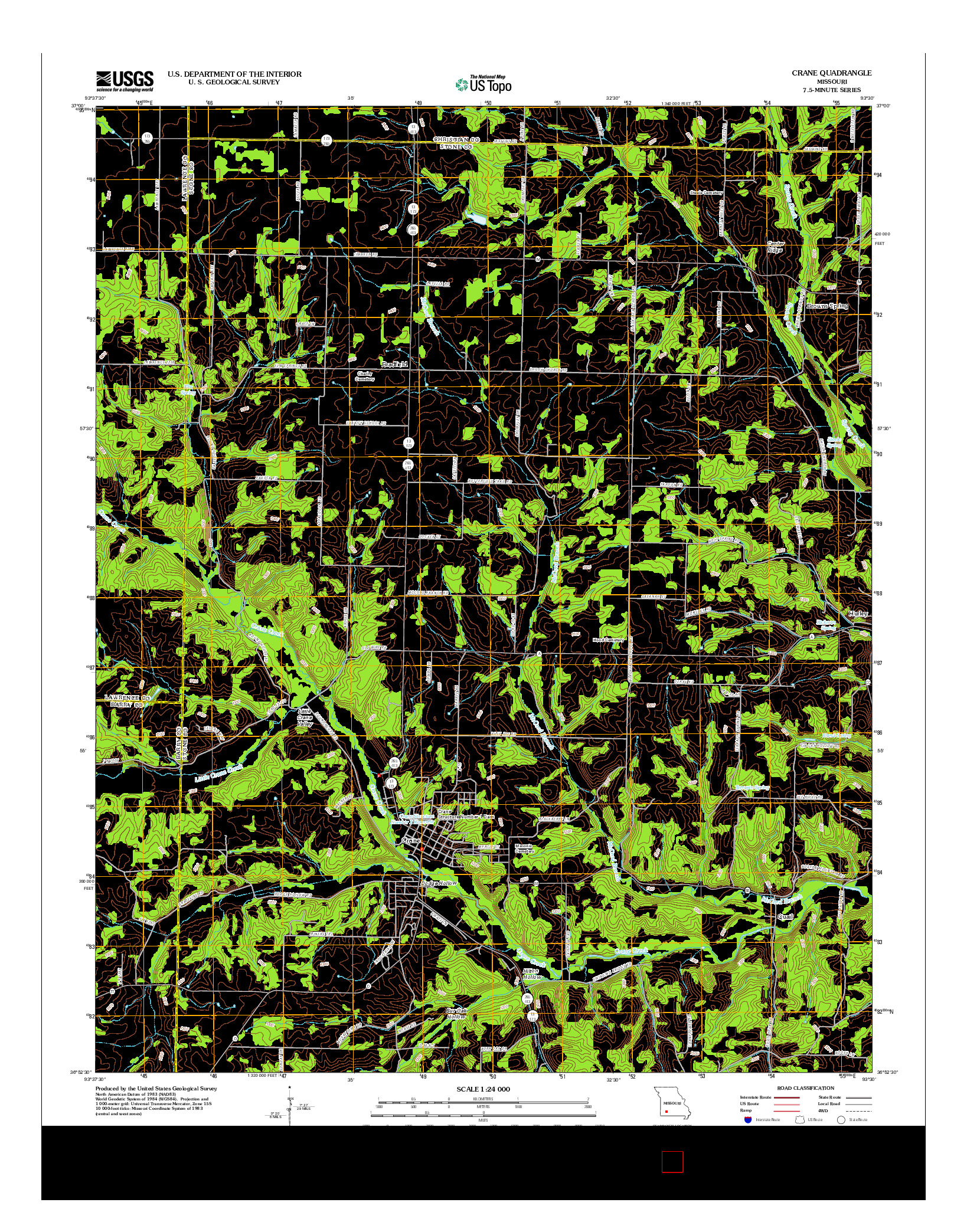 USGS US TOPO 7.5-MINUTE MAP FOR CRANE, MO 2012