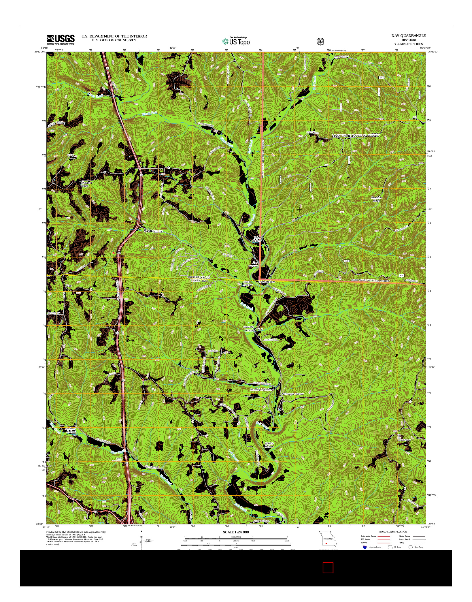 USGS US TOPO 7.5-MINUTE MAP FOR DAY, MO 2012