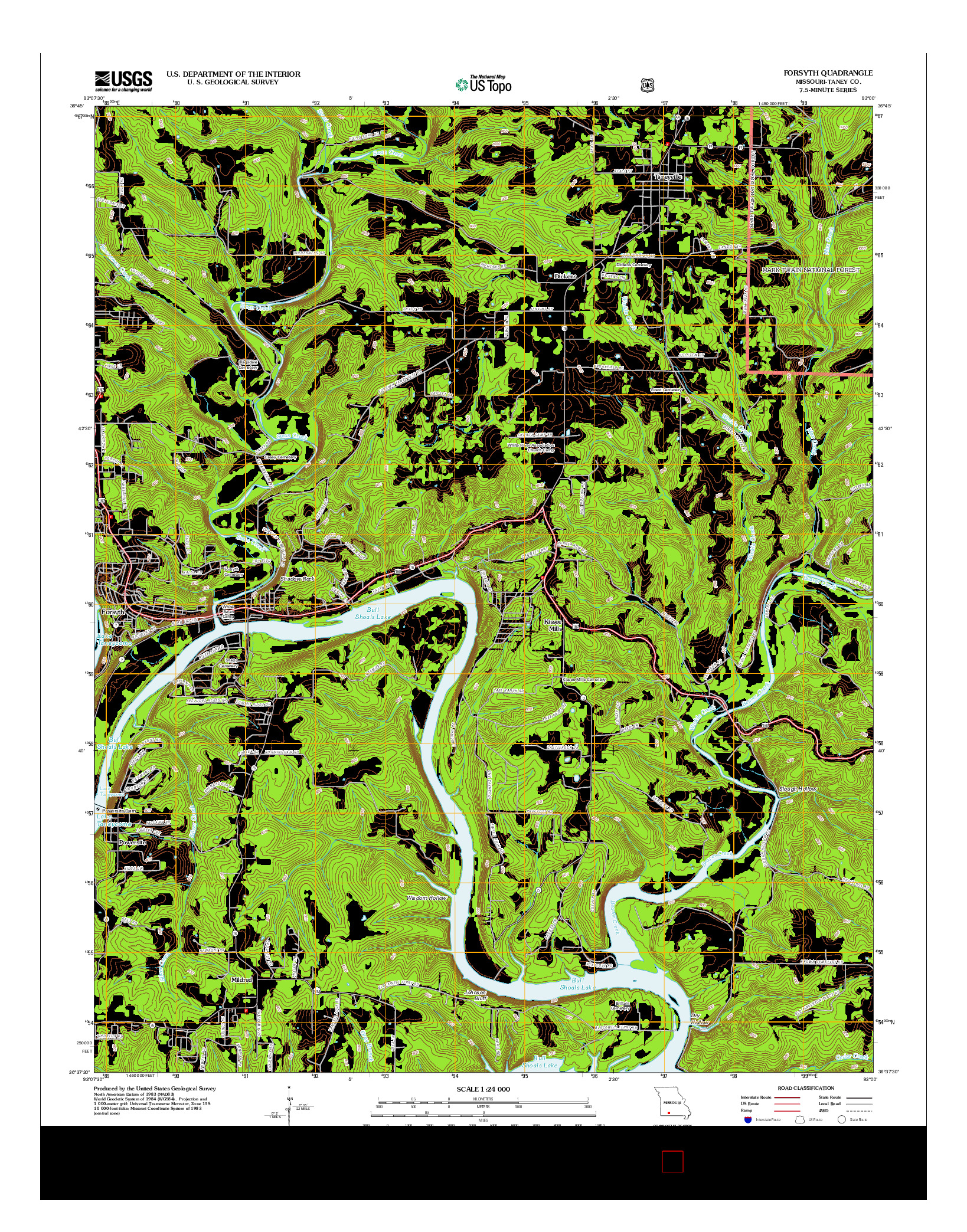 USGS US TOPO 7.5-MINUTE MAP FOR FORSYTH, MO 2012