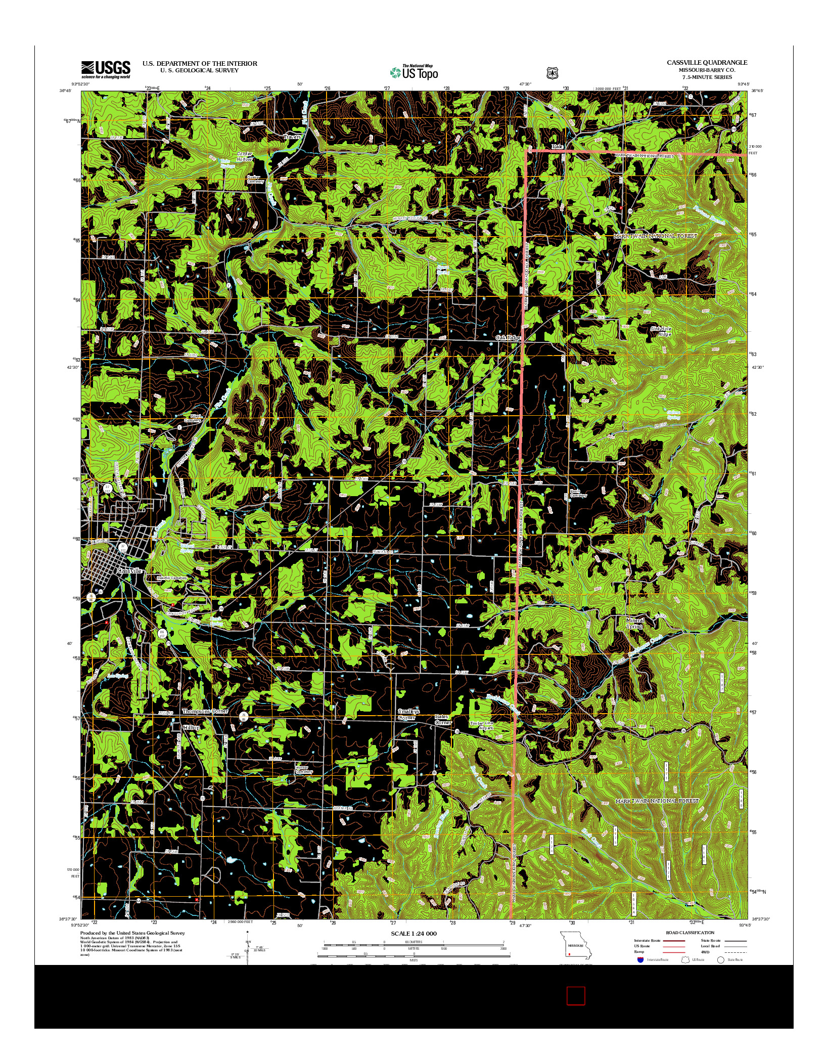 USGS US TOPO 7.5-MINUTE MAP FOR CASSVILLE, MO 2012