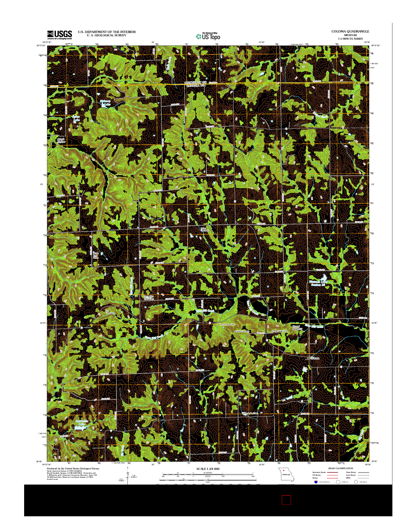 USGS US TOPO 7.5-MINUTE MAP FOR COLOMA, MO 2012