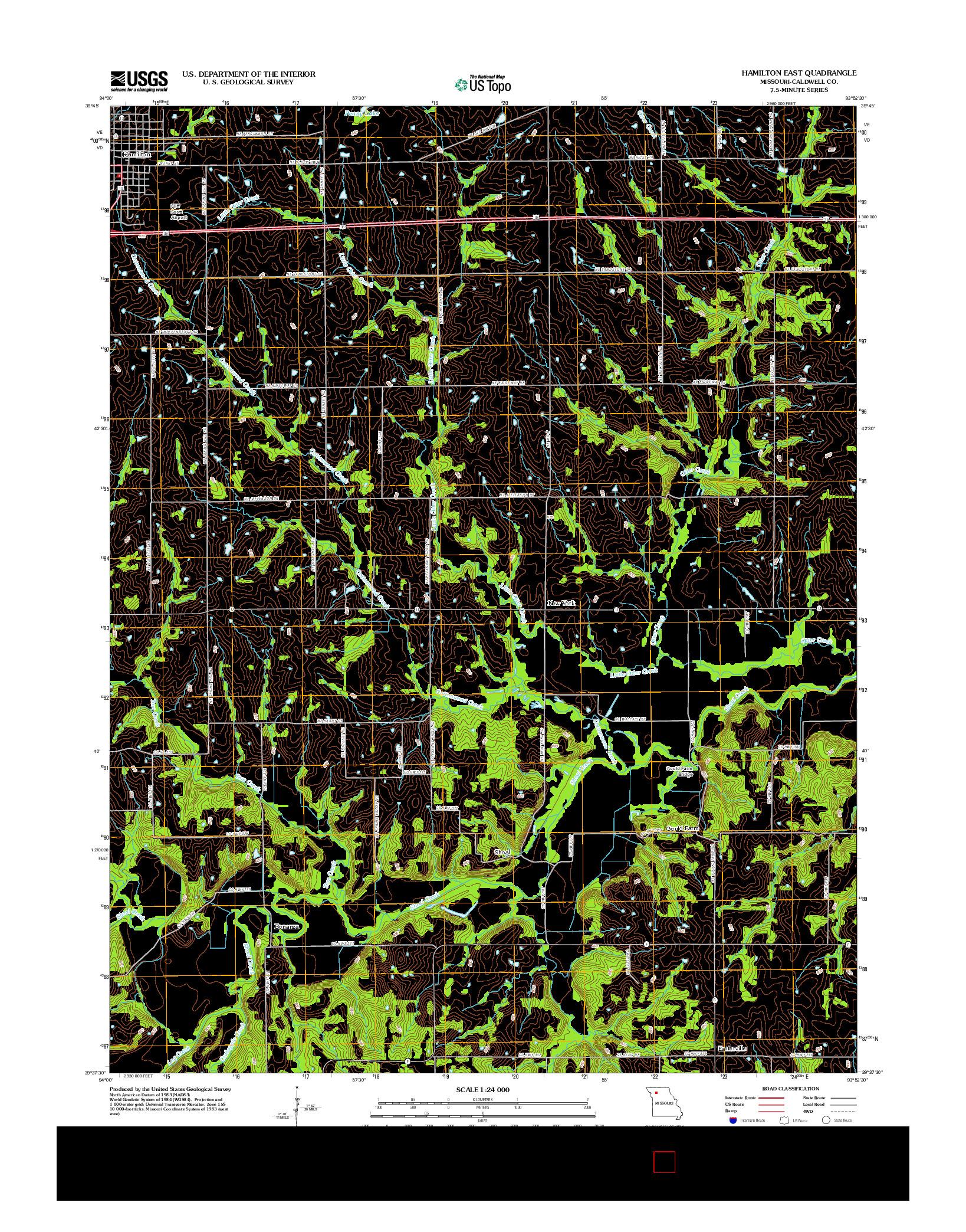 USGS US TOPO 7.5-MINUTE MAP FOR HAMILTON EAST, MO 2012