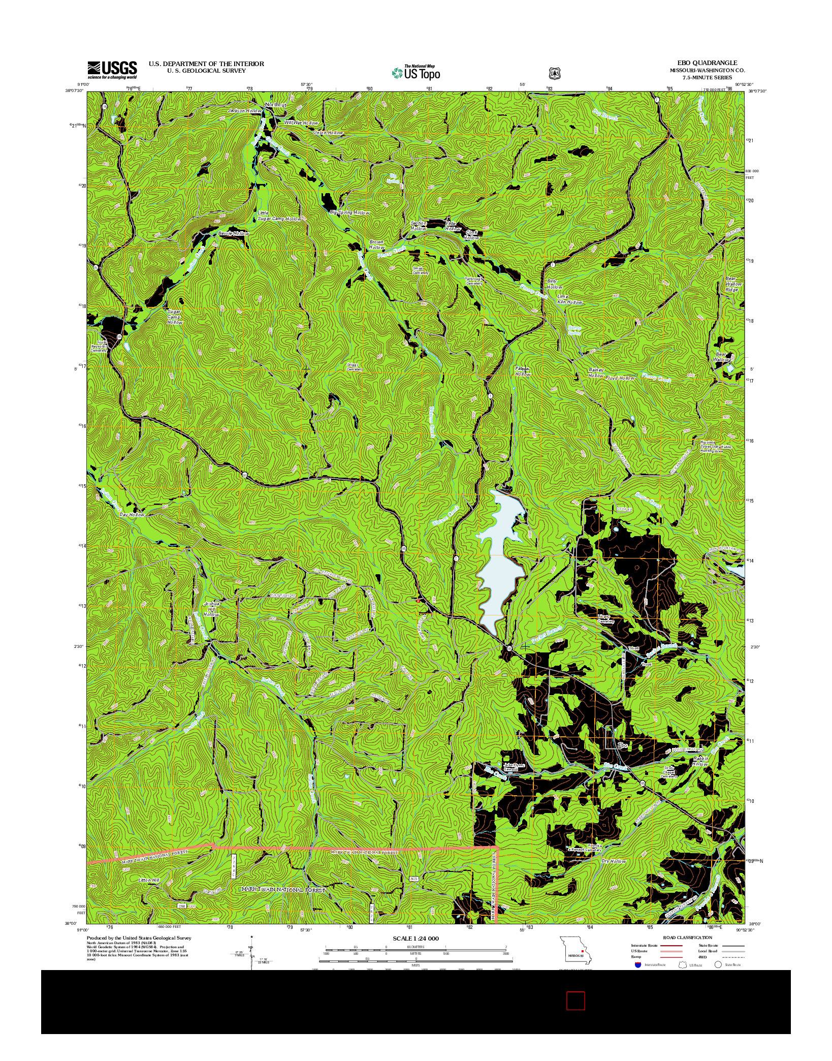 USGS US TOPO 7.5-MINUTE MAP FOR EBO, MO 2012