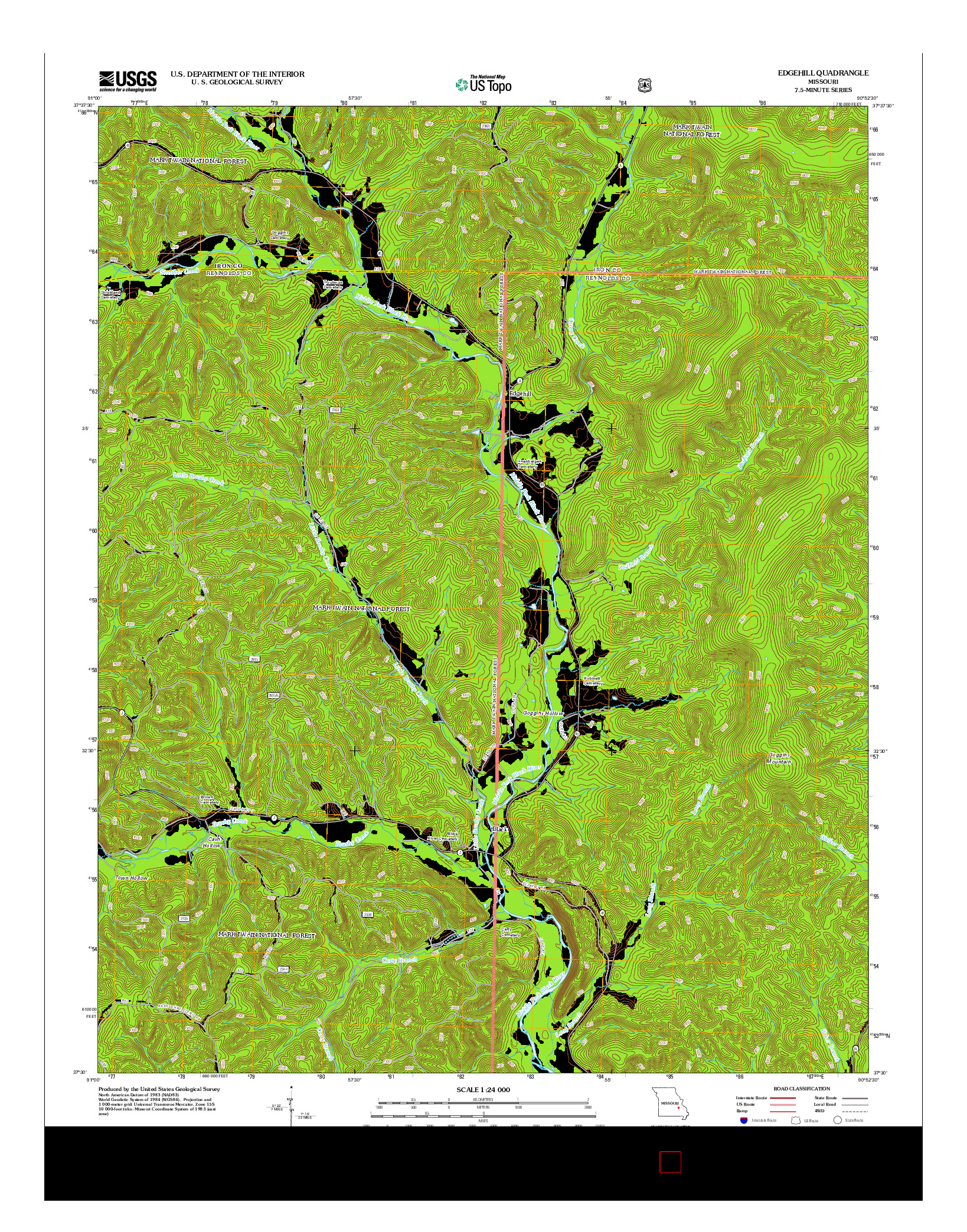 USGS US TOPO 7.5-MINUTE MAP FOR EDGEHILL, MO 2012