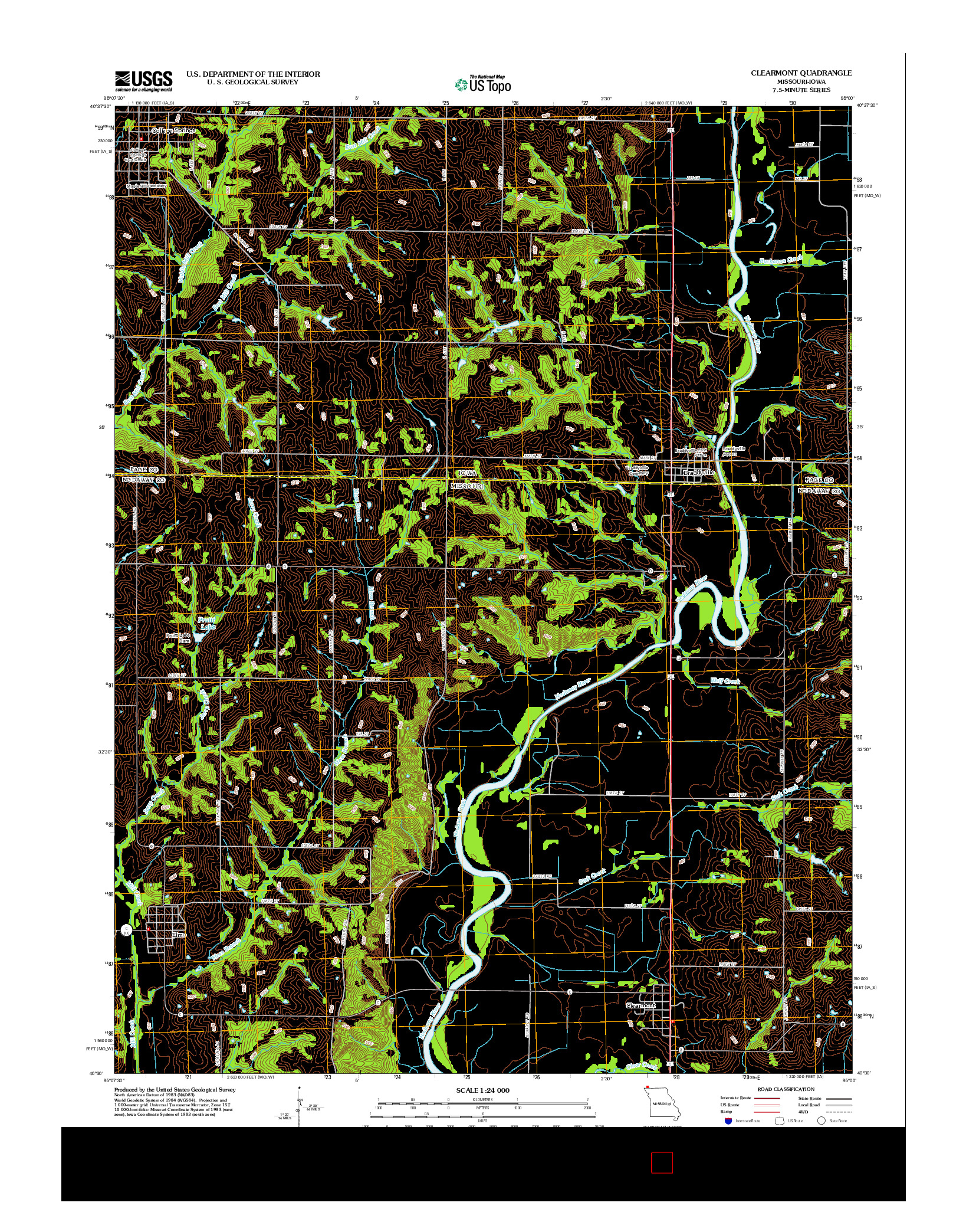 USGS US TOPO 7.5-MINUTE MAP FOR CLEARMONT, MO-IA 2012