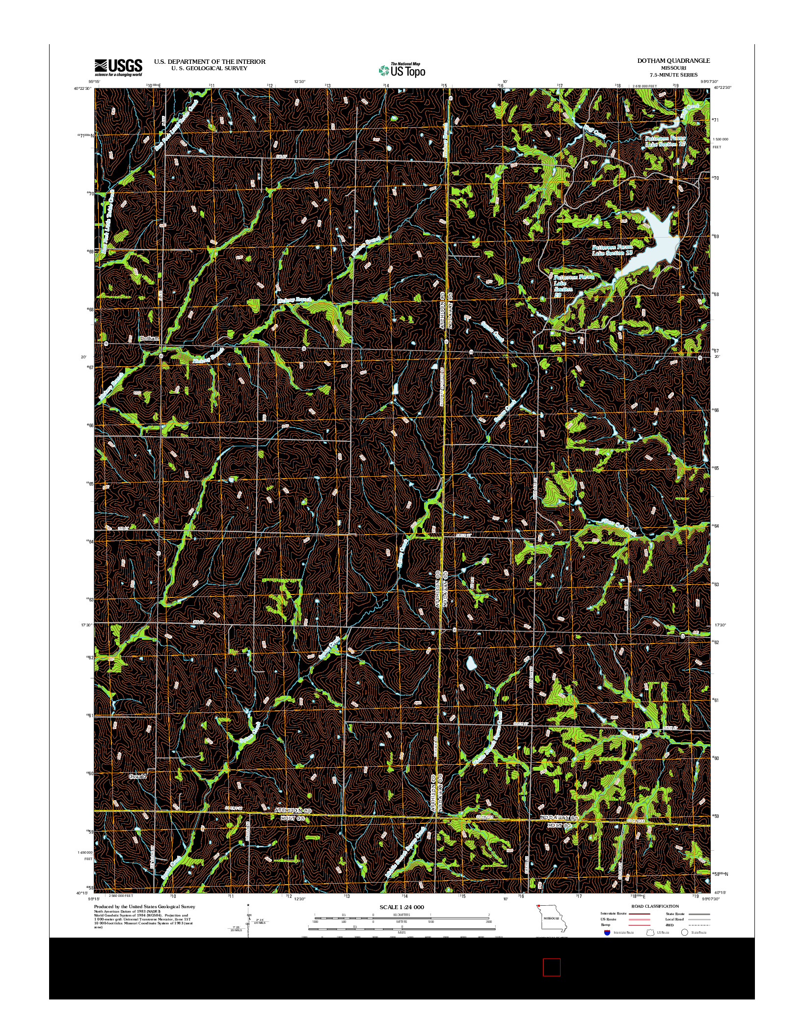 USGS US TOPO 7.5-MINUTE MAP FOR DOTHAM, MO 2012